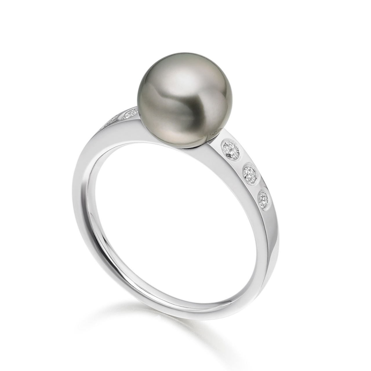 Tahitian Pearl and Diamond Ring in White Gold