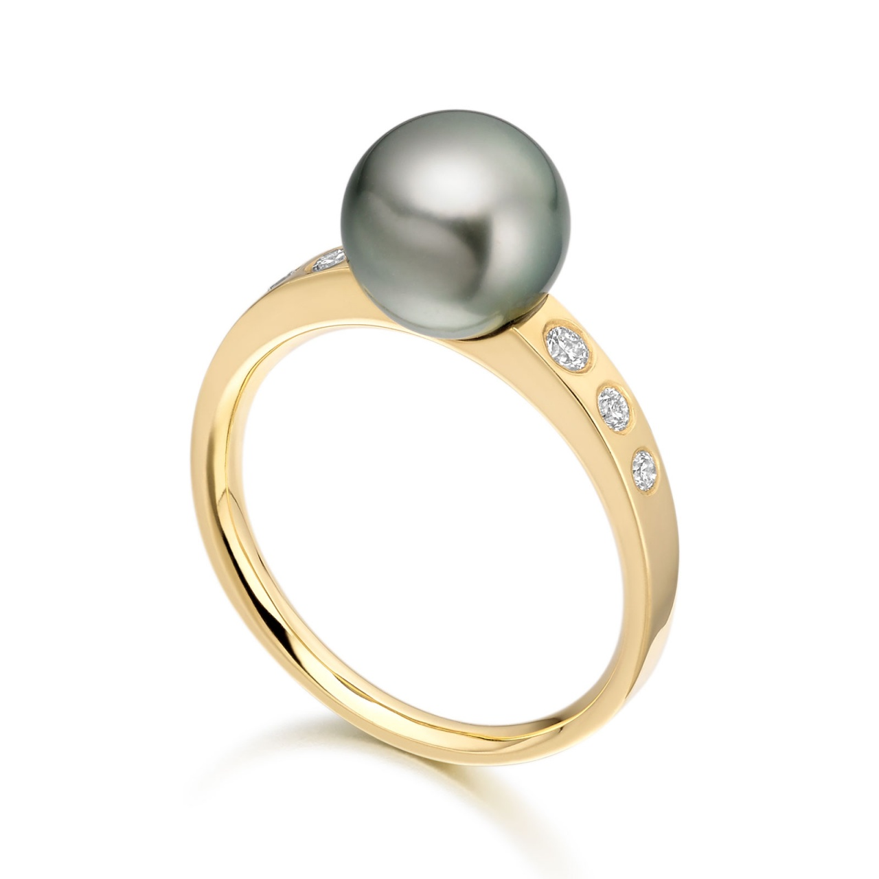 Tahitian Pearl and Diamond Ring in Yellow Gold