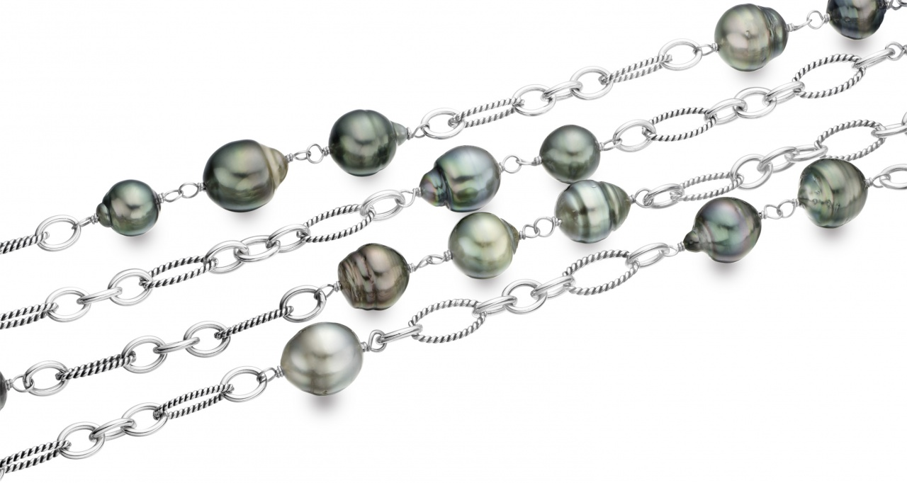 Long Grey Baroque Tahitian Pearl Sautoir Necklace with Silver-TSGBSS0097-1