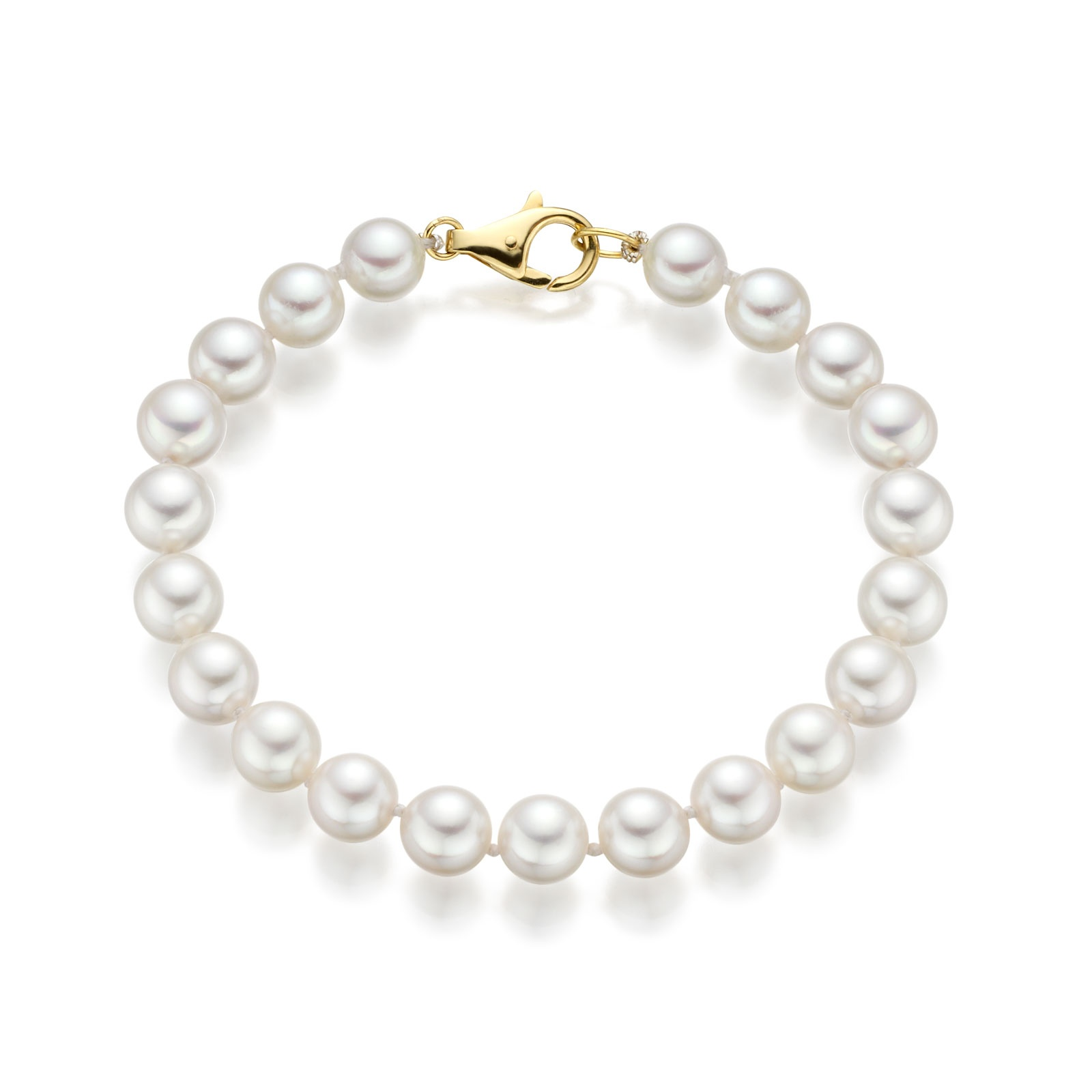 Classic White Japanese Akoya Pearl Bracelet with 18ct Gold-1