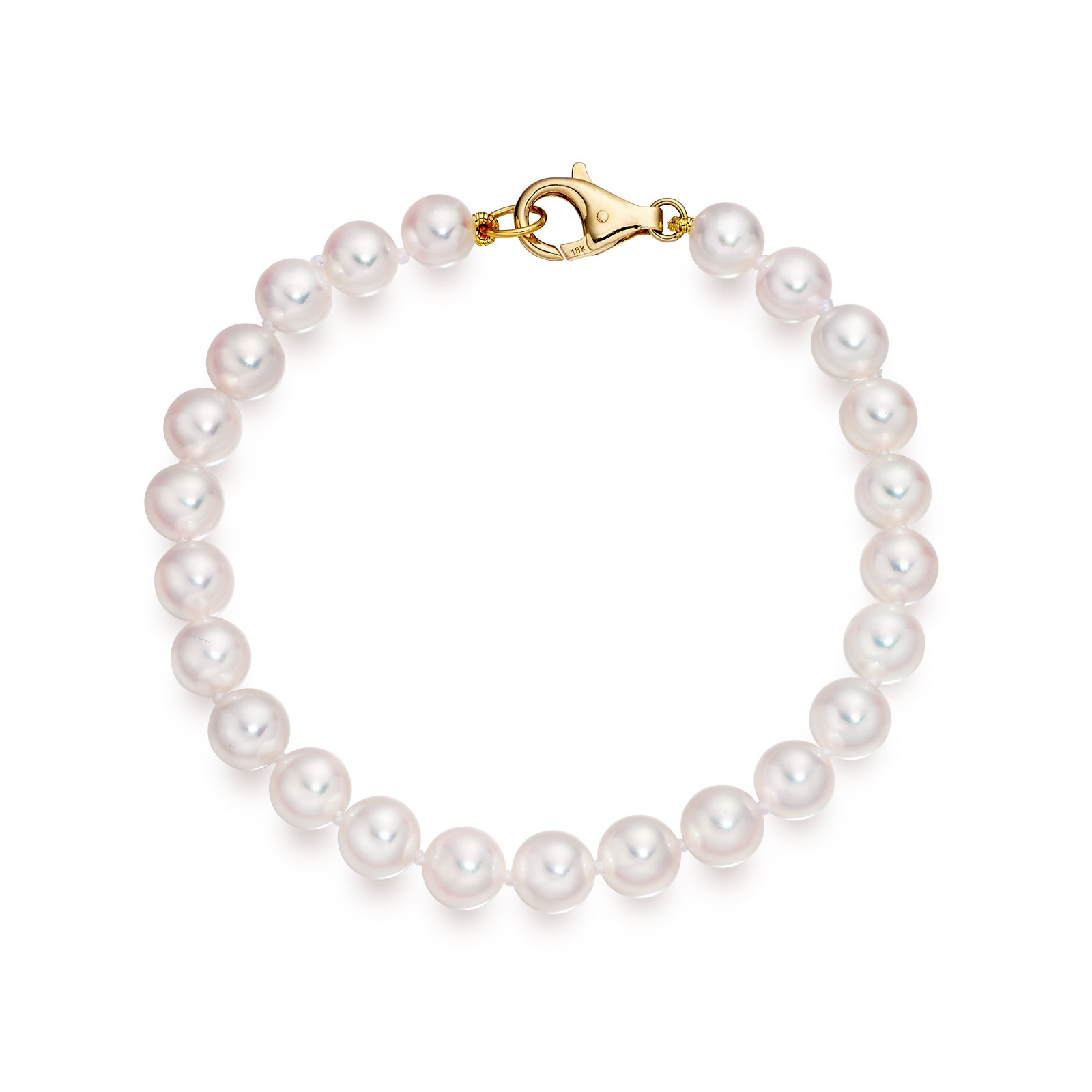 Single White Japanese Akoya Pearl Bracelet with 18ct Gold-1