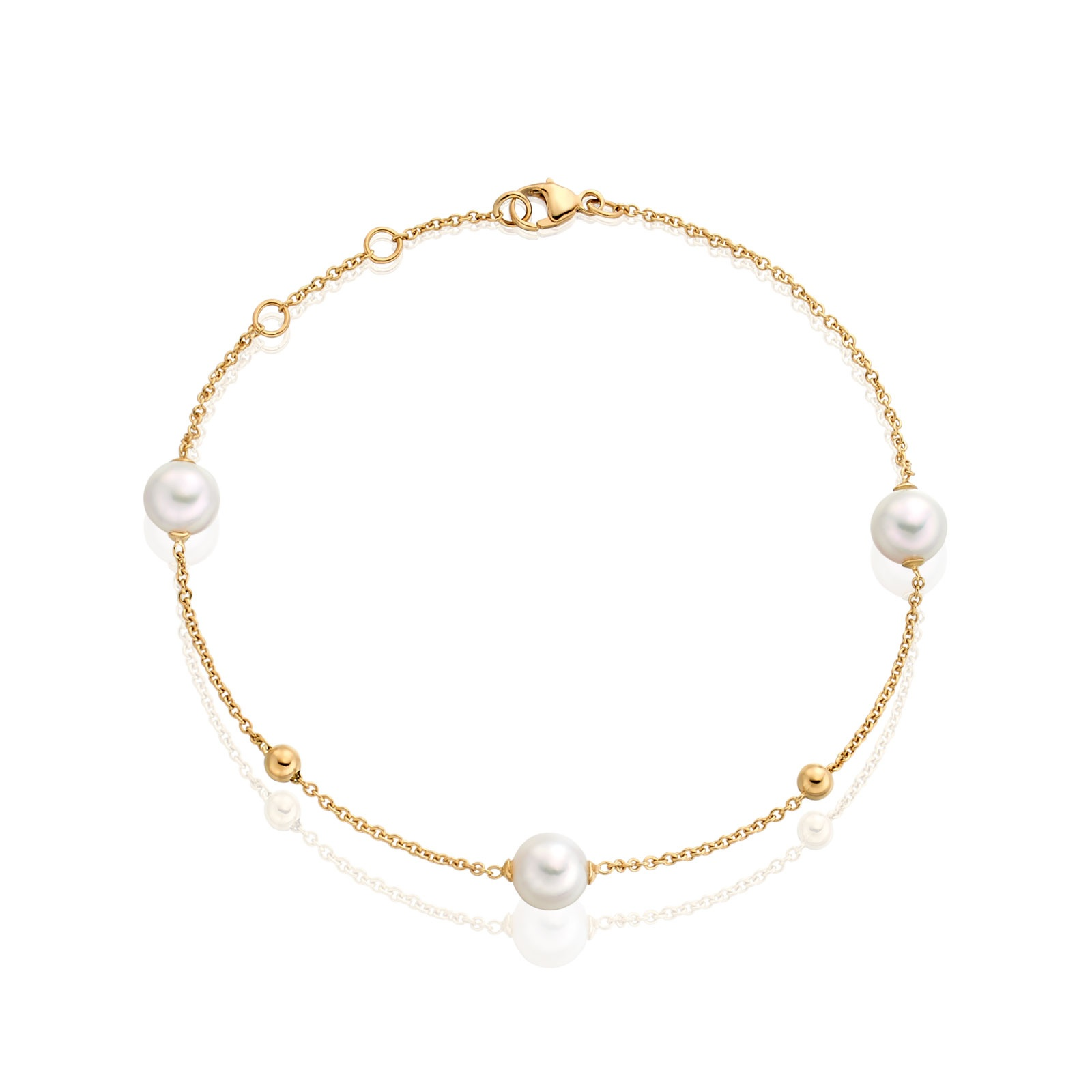 Akoya Pearl Constellation Bracelet in Yellow Gold-1
