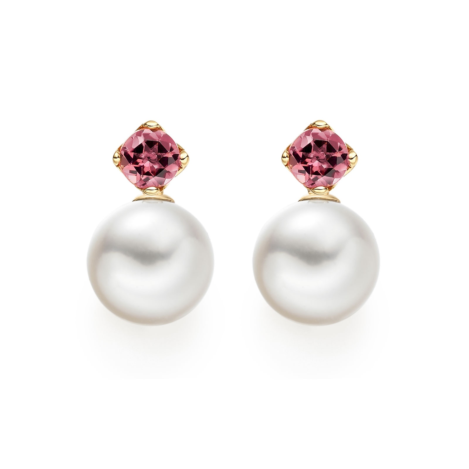 Lief Pink Tourmaline Earrings in Yellow Gold with Akoya Pearls-AEWRPT0466-1