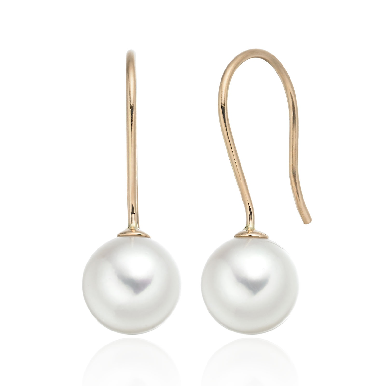 Akoya Pearl Hook Earrings in Rose Gold
