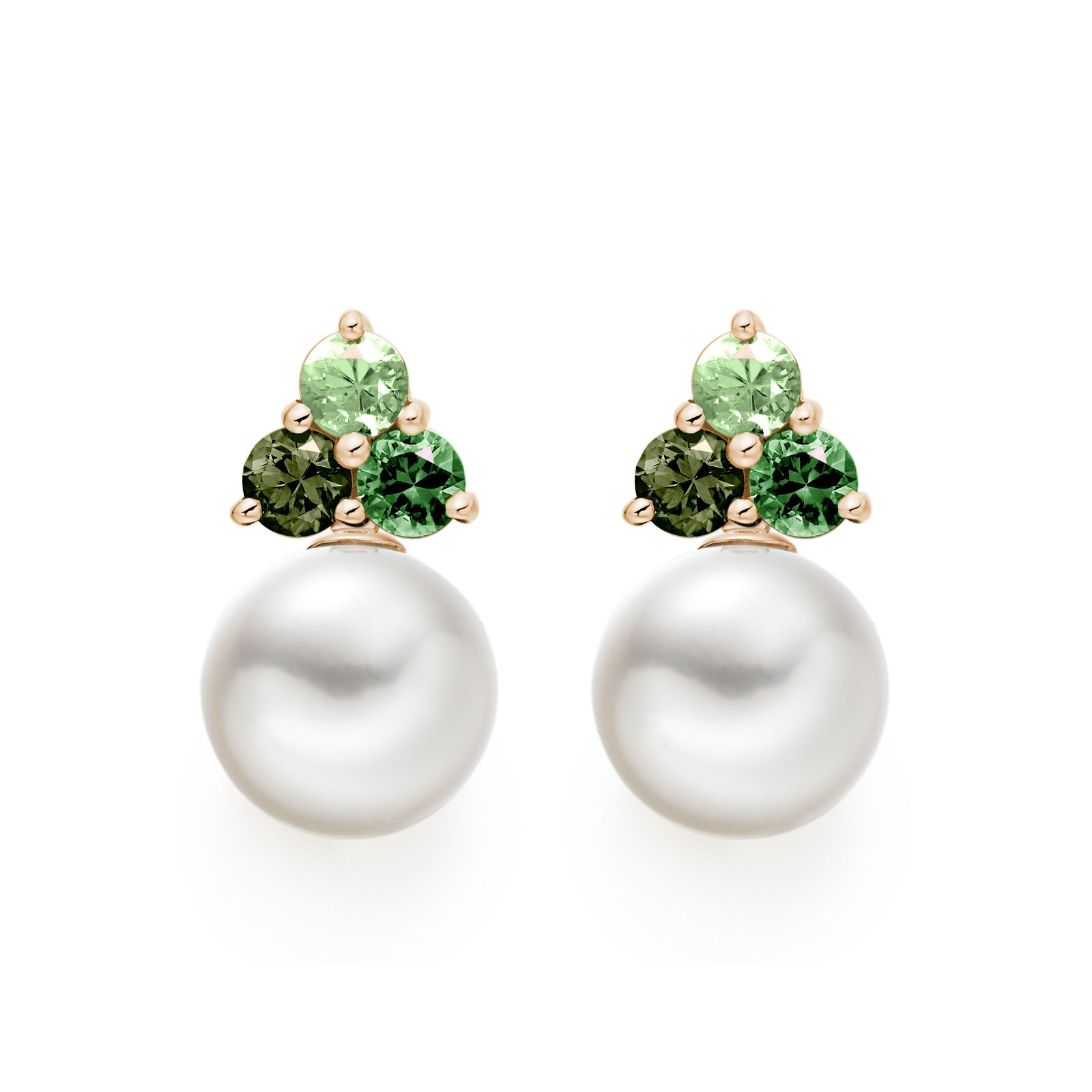 Astral Aurora Studs in Rose Gold with Akoya Pearls-AEWRRG1342-1