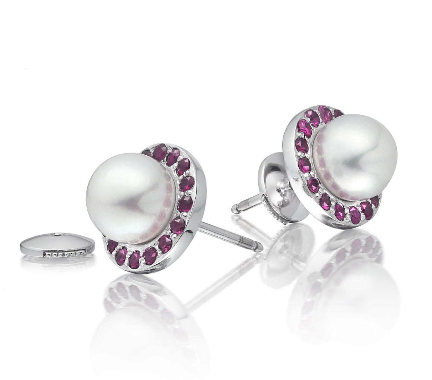 Ruby and Akoya Pearl Stud Earrings with 18ct Gold
