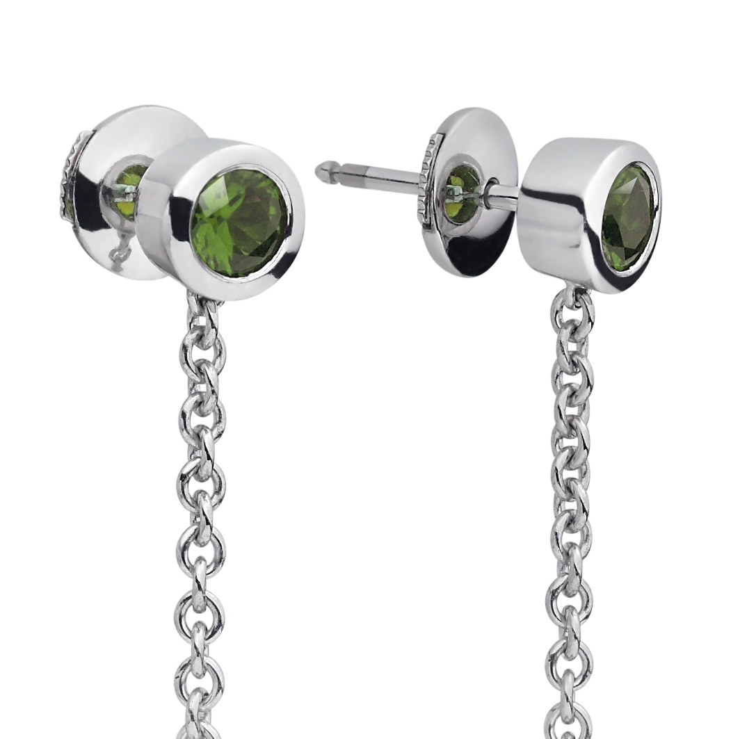 Akoya Pearl and Tsavorite Garnet Drop Earrings in White ...