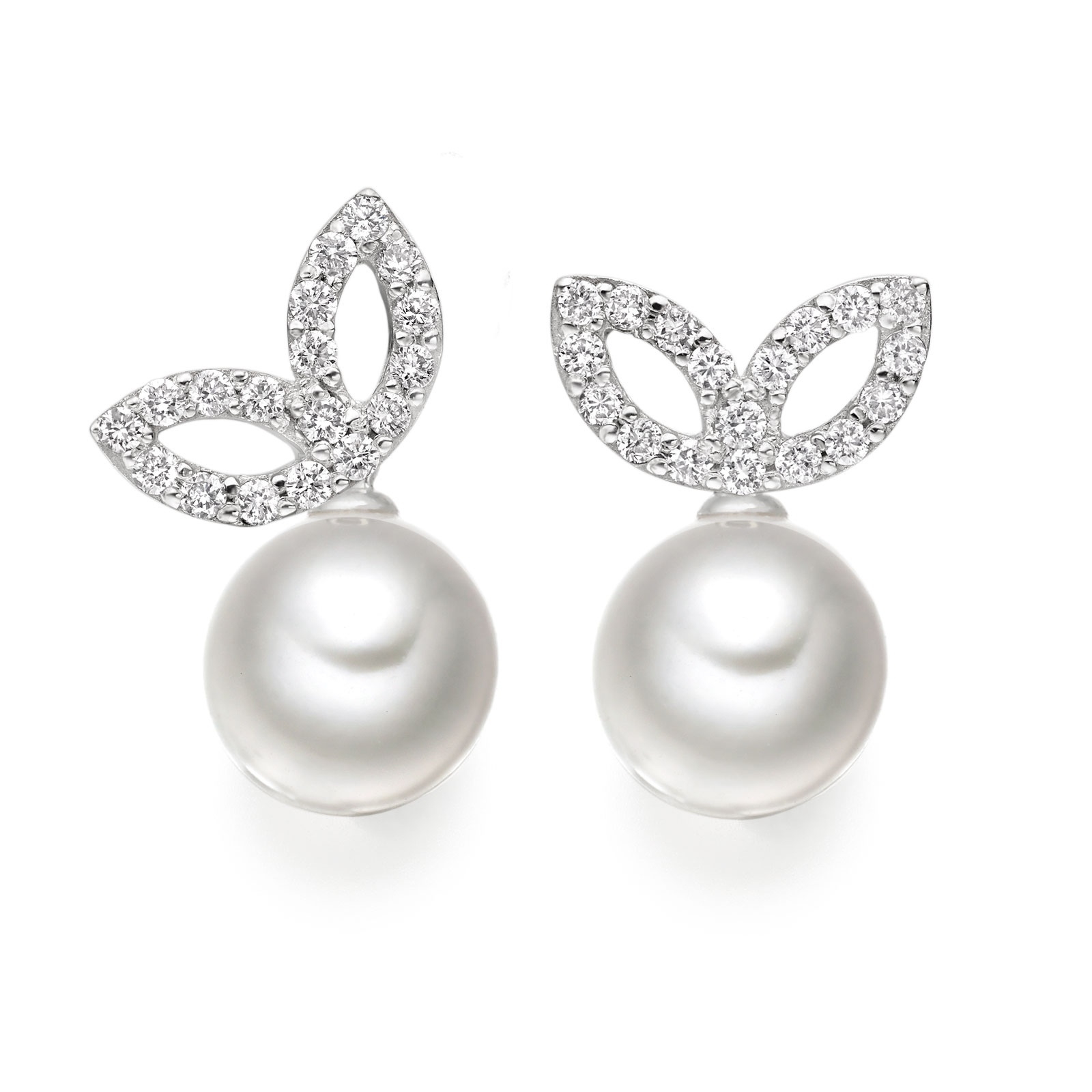 Enchanted Diamond Studs in White Gold with Akoya Pearls-AEWRWG0485-1