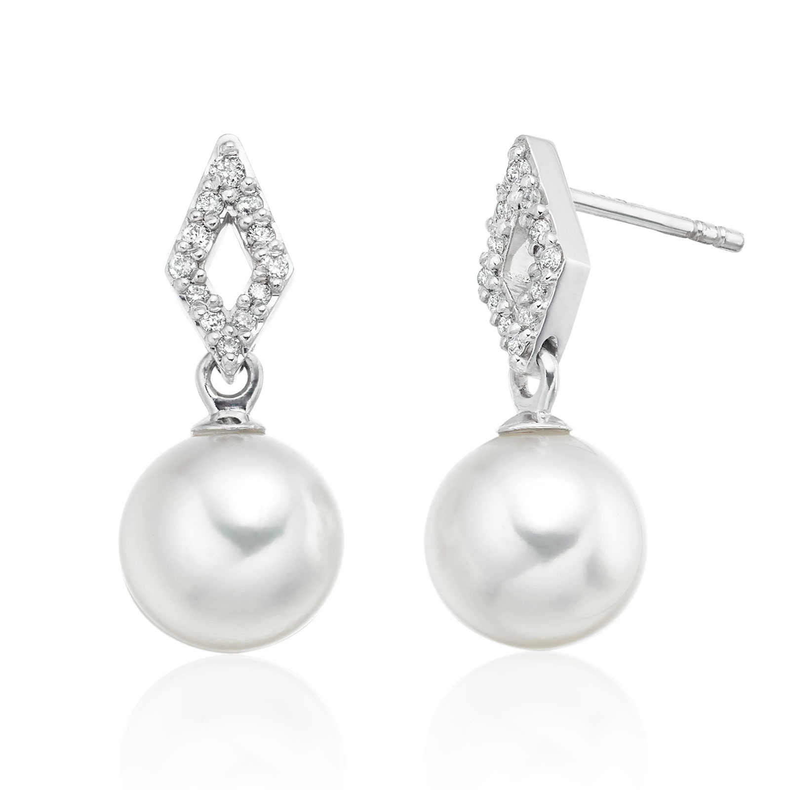 Zigzag Akoya Pearl and Diamond Earrings in White Gold ...