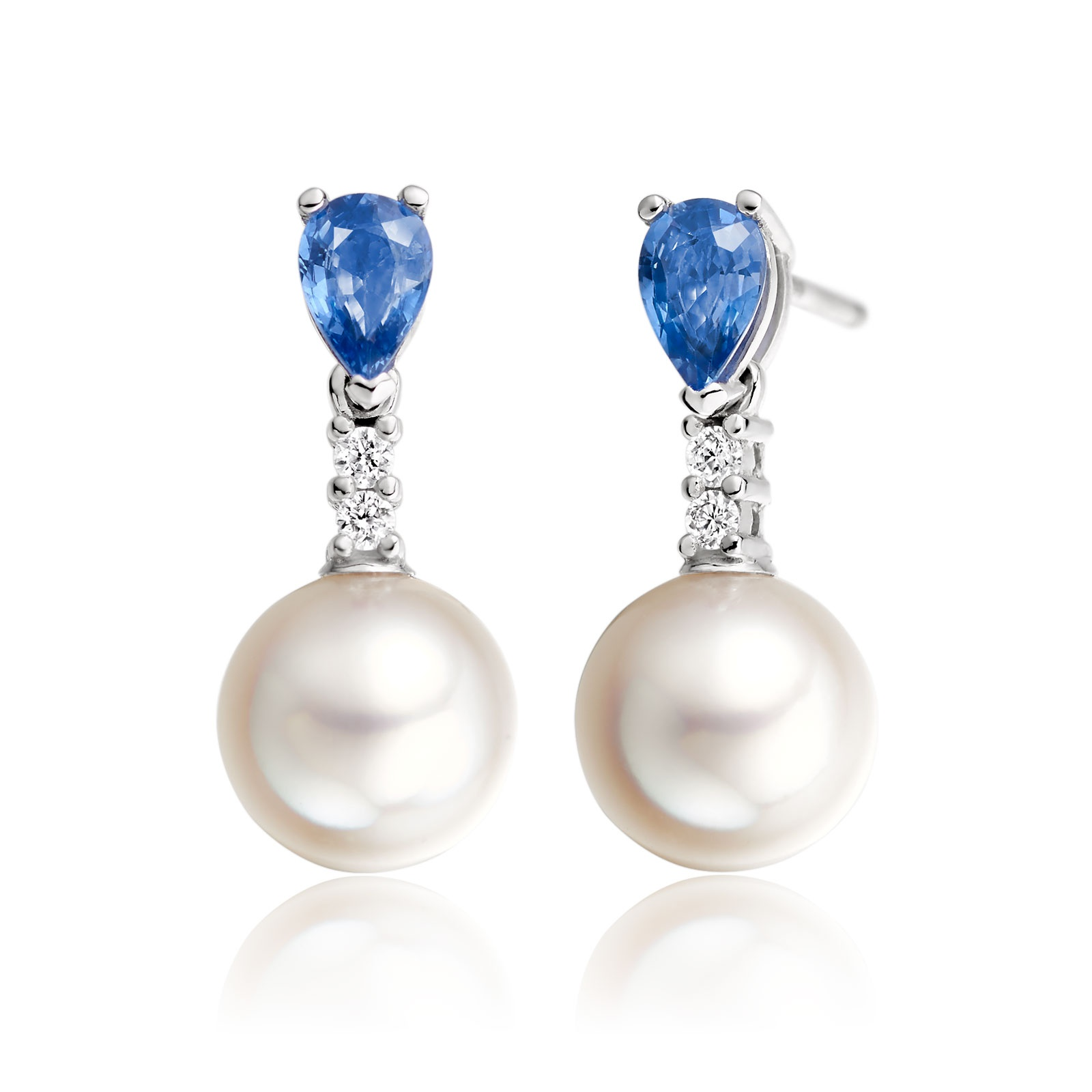 Classic Pear Drop Earrings in Blue Sapphire-1