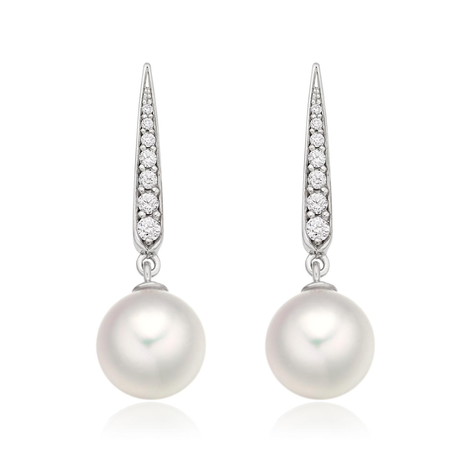 Mythologie Dewdrop Akoya Pearl Earrings in White Gold-AEWRWG1213-1