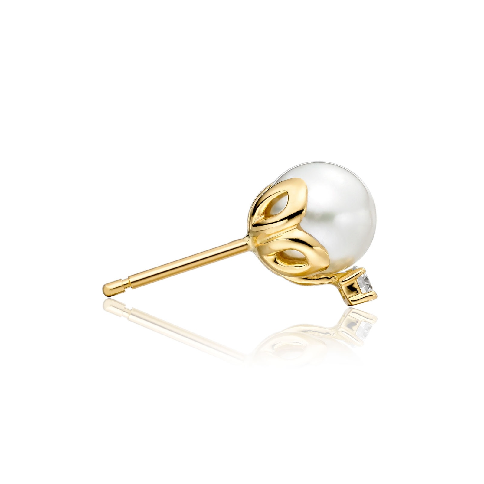 Entwined Akoya Pearl and Diamond Studs in Yellow Gold-AEWRYG0418-1