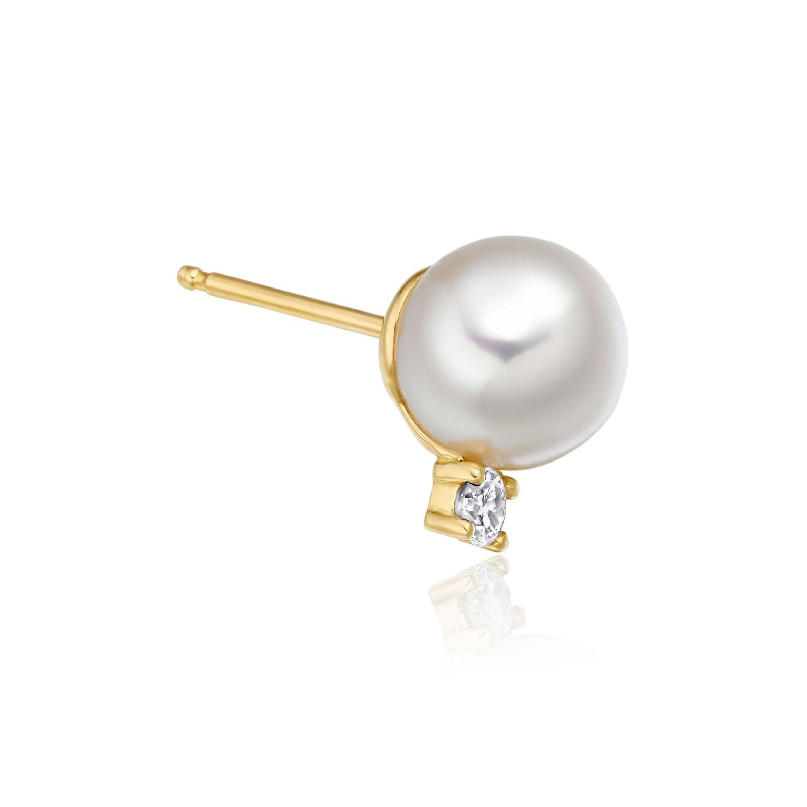 Luxury Akoya Pearl and Diamond Studs in Yellow Gold-AEWRYG0618-1