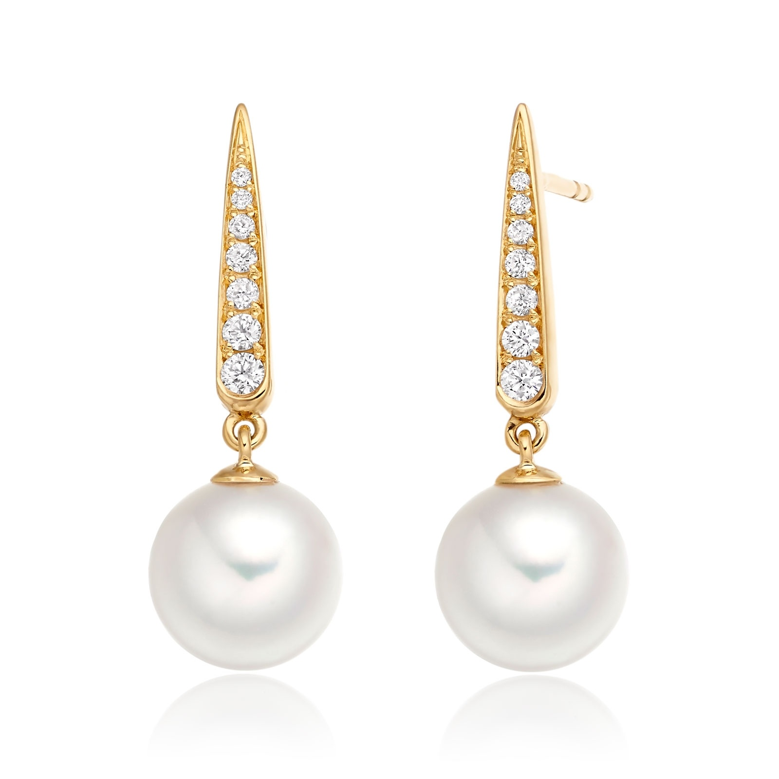Mythologie Dewdrop Akoya Pearl Earrings in Yellow Gold-AEWRYG1214-1