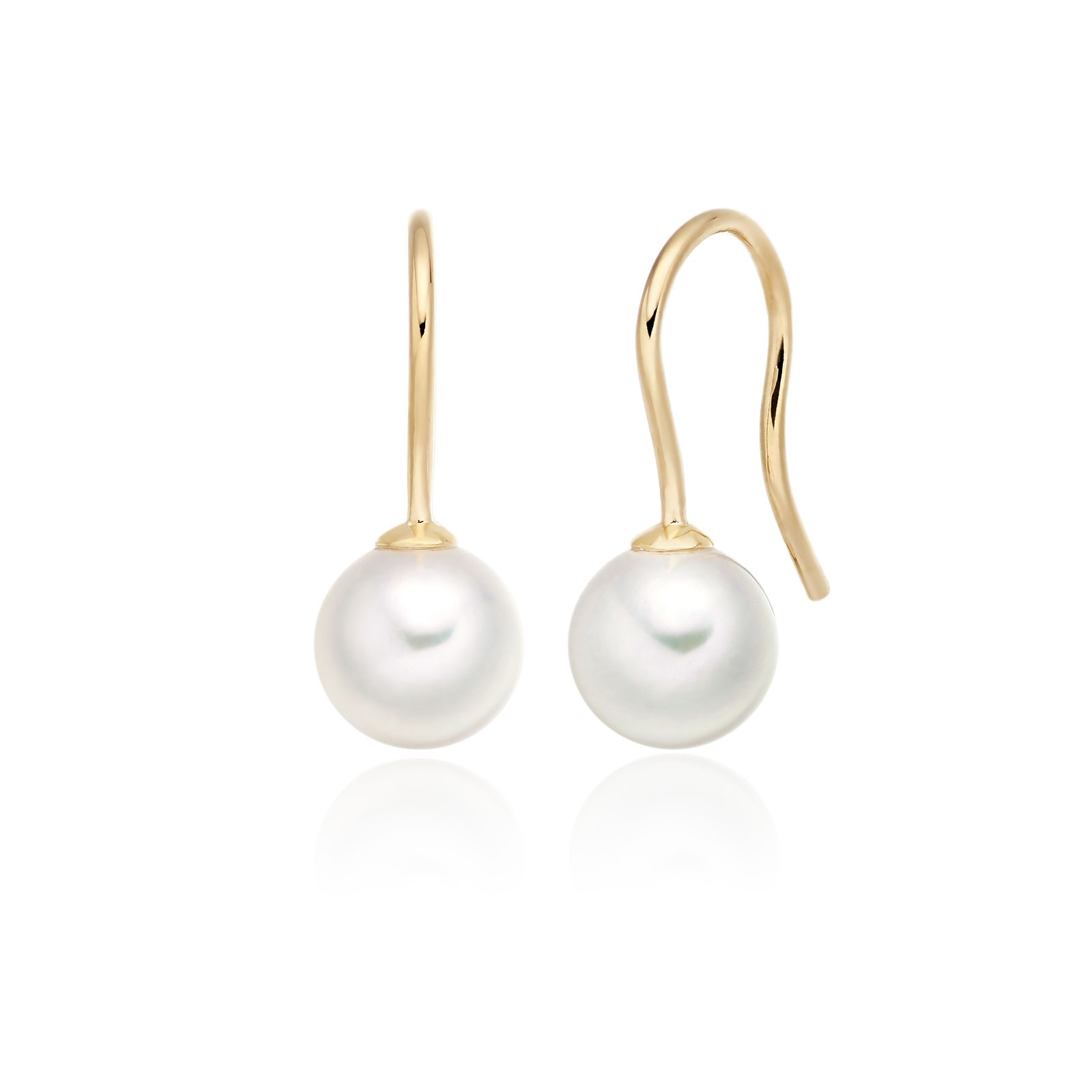 Akoya Pearl Huggie Hook Earrings in Yellow Gold-AEWRYG1219-1