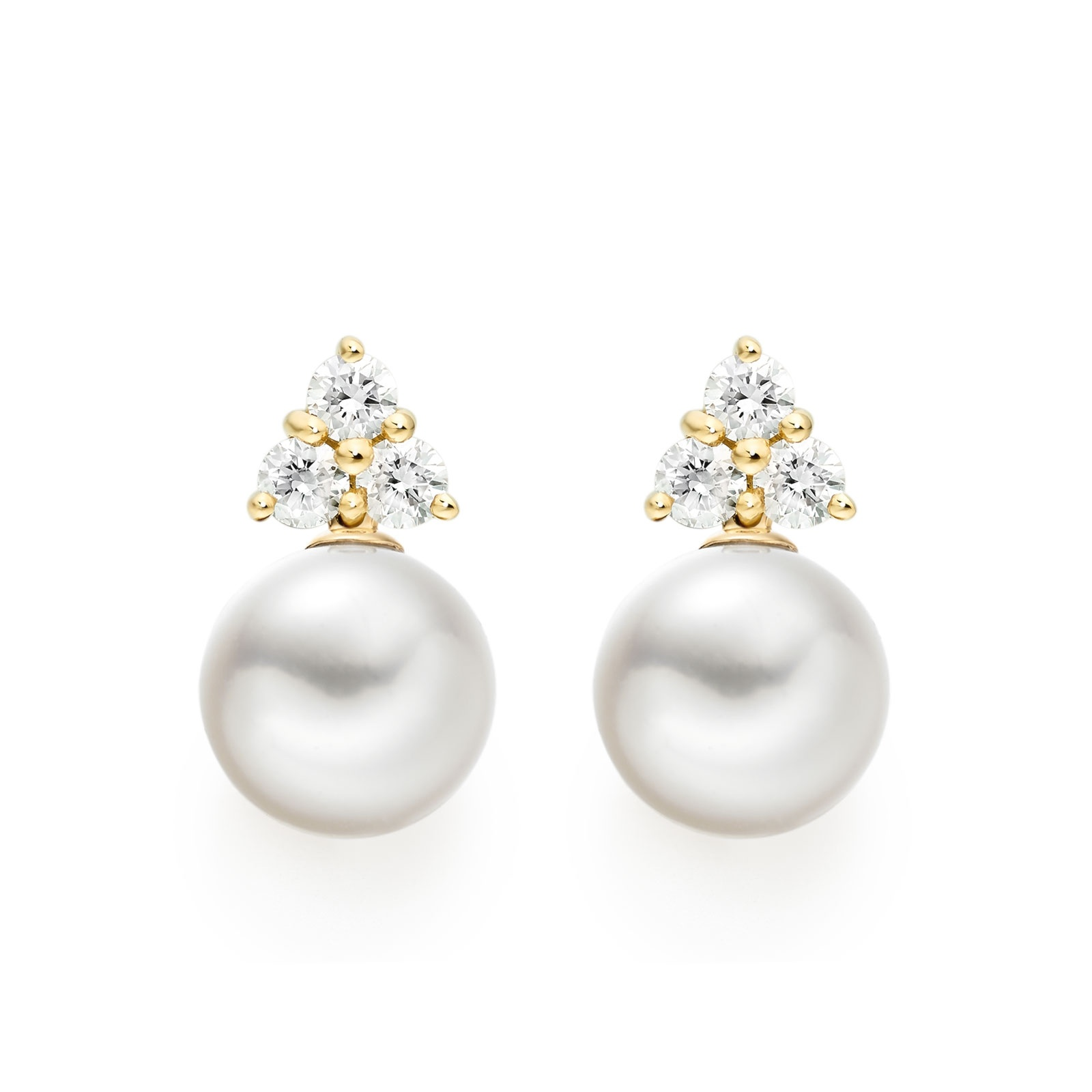 Astral Cluster Studs in Yellow Gold with Akoya Pearls-AEWRYG1338-1