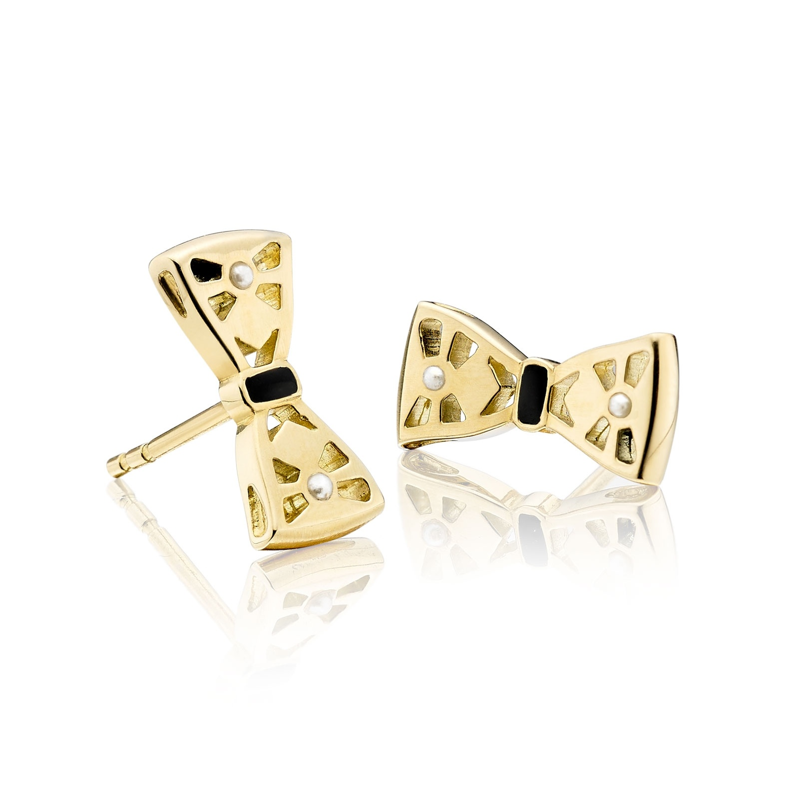 Beau Seed Pearl and Enamel Studs in Yellow Gold-AEWSYG0319-1