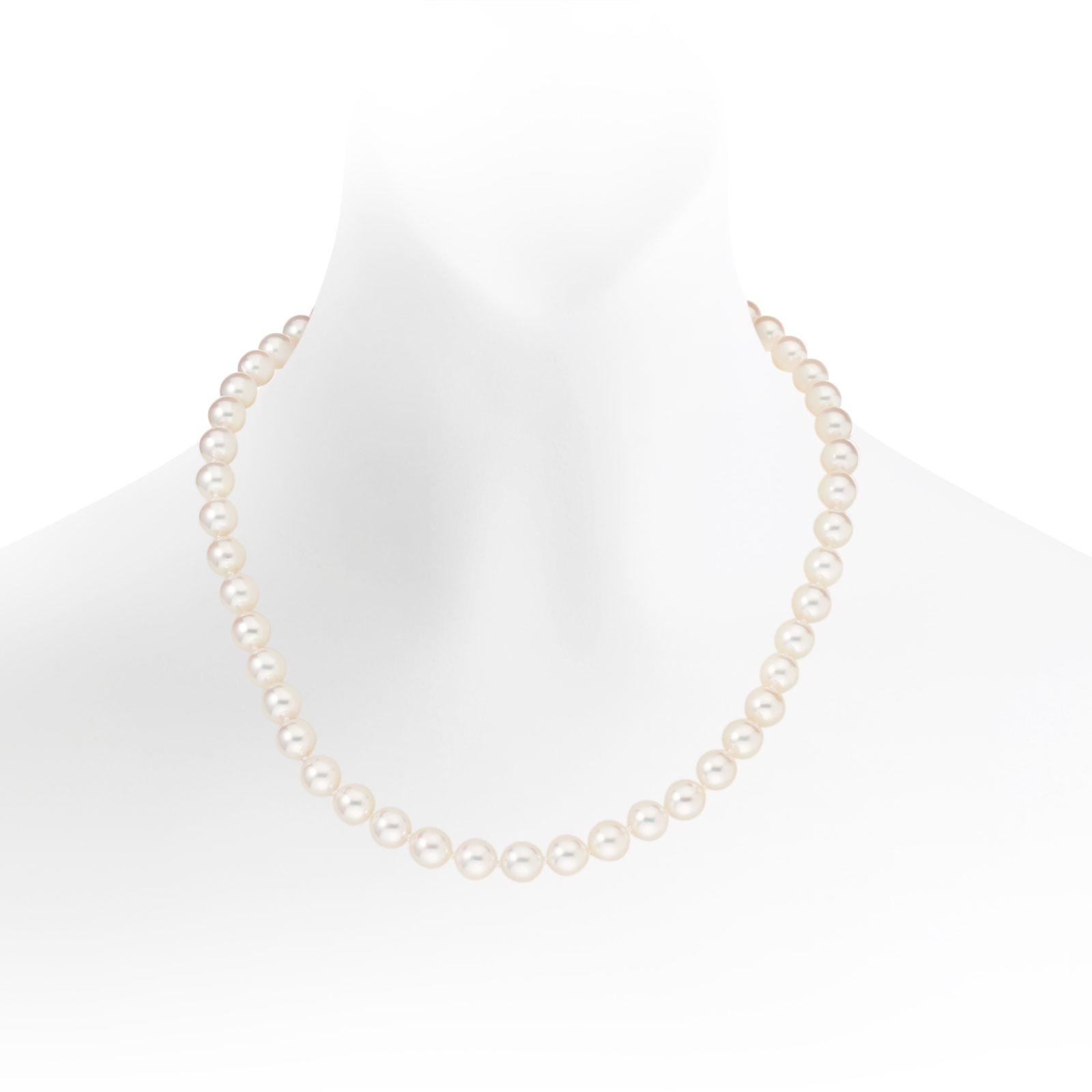 Luxury White Japanese Akoya Pearl Necklace with 18ct Gold-ANVAR00190020-1