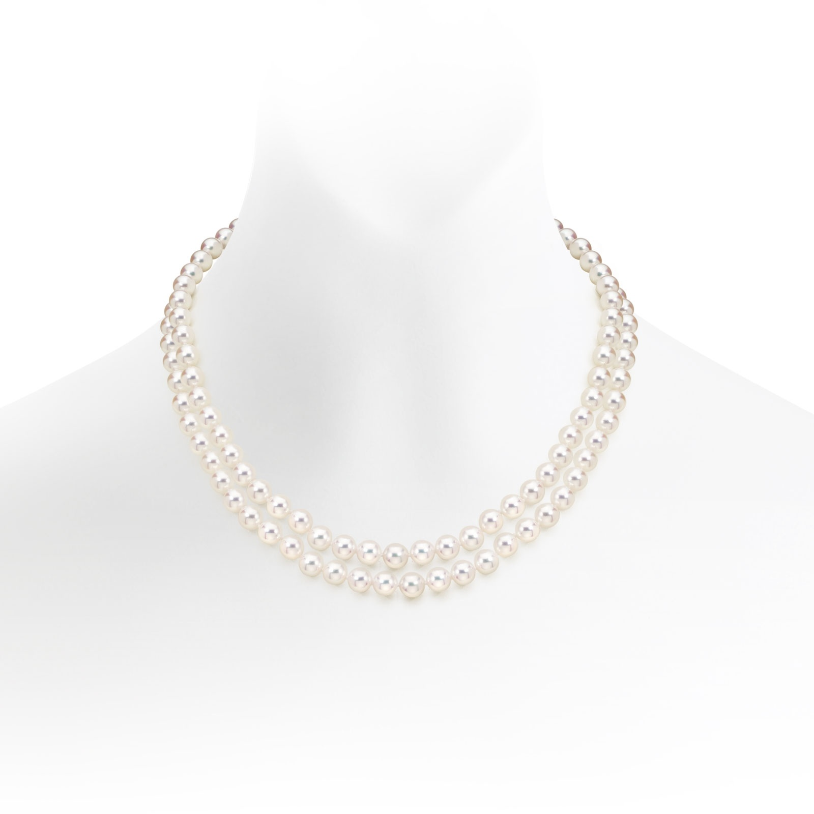 Classic Double Strand White Japanese Akoya Pearl Necklace-ANVAR1347-1
