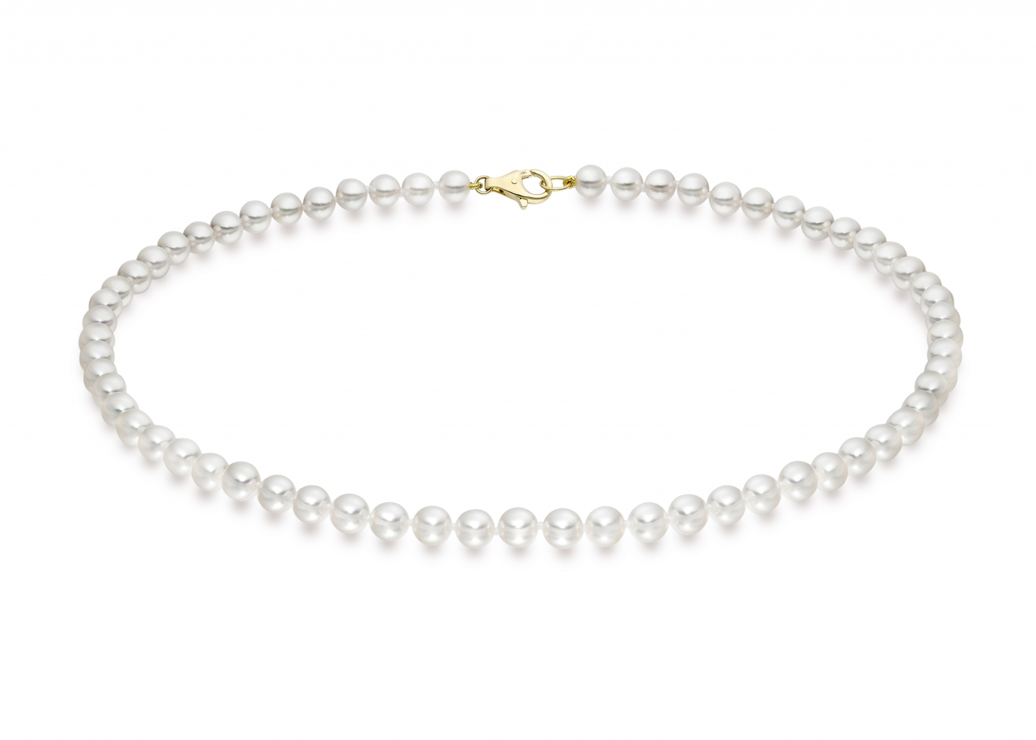 Single Strand White Akoya Pearl Necklace with 18ct Gold Clasp-ANVAR02630264-1