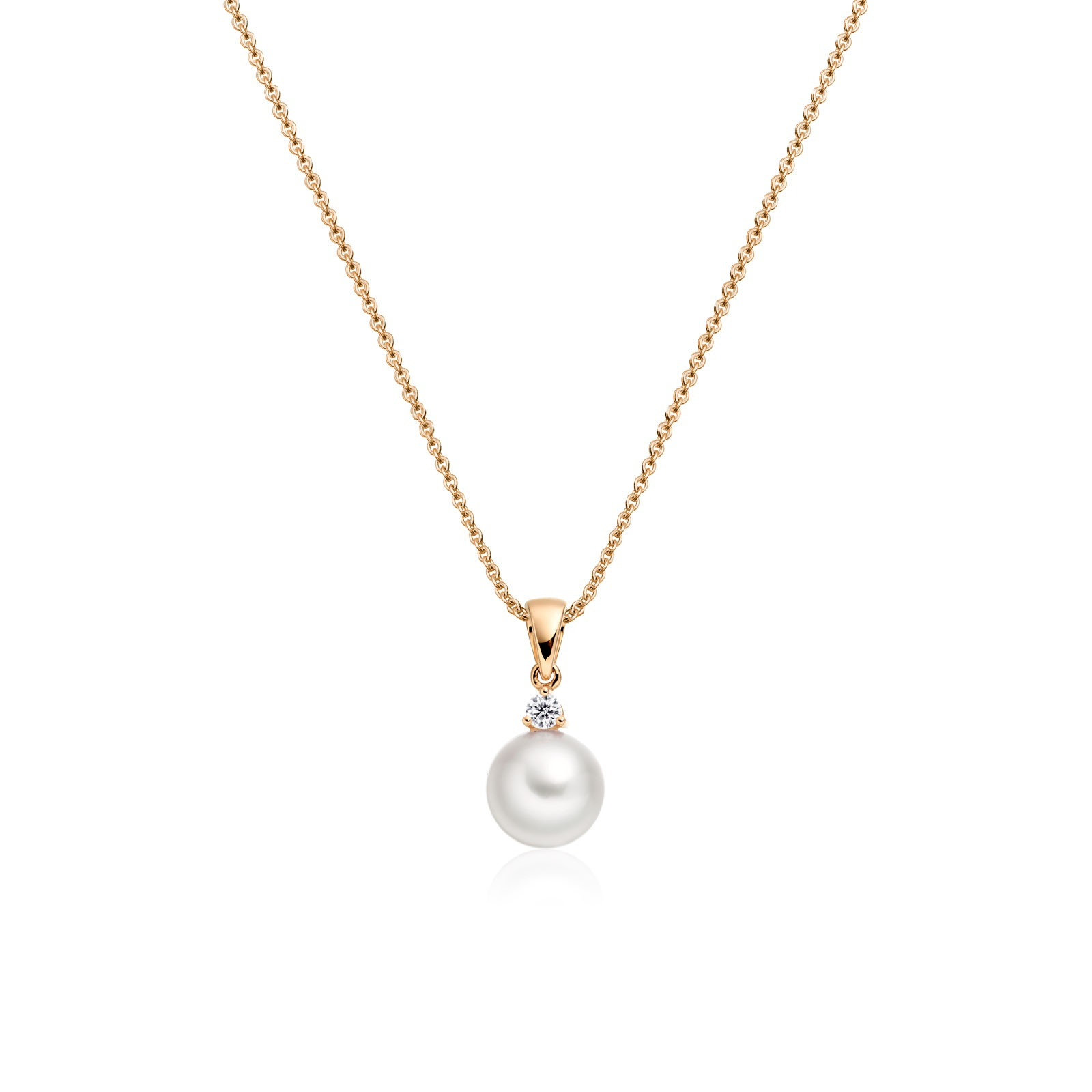 Akoya Pearl and Diamond Pendant with 18ct Rose Gold-1