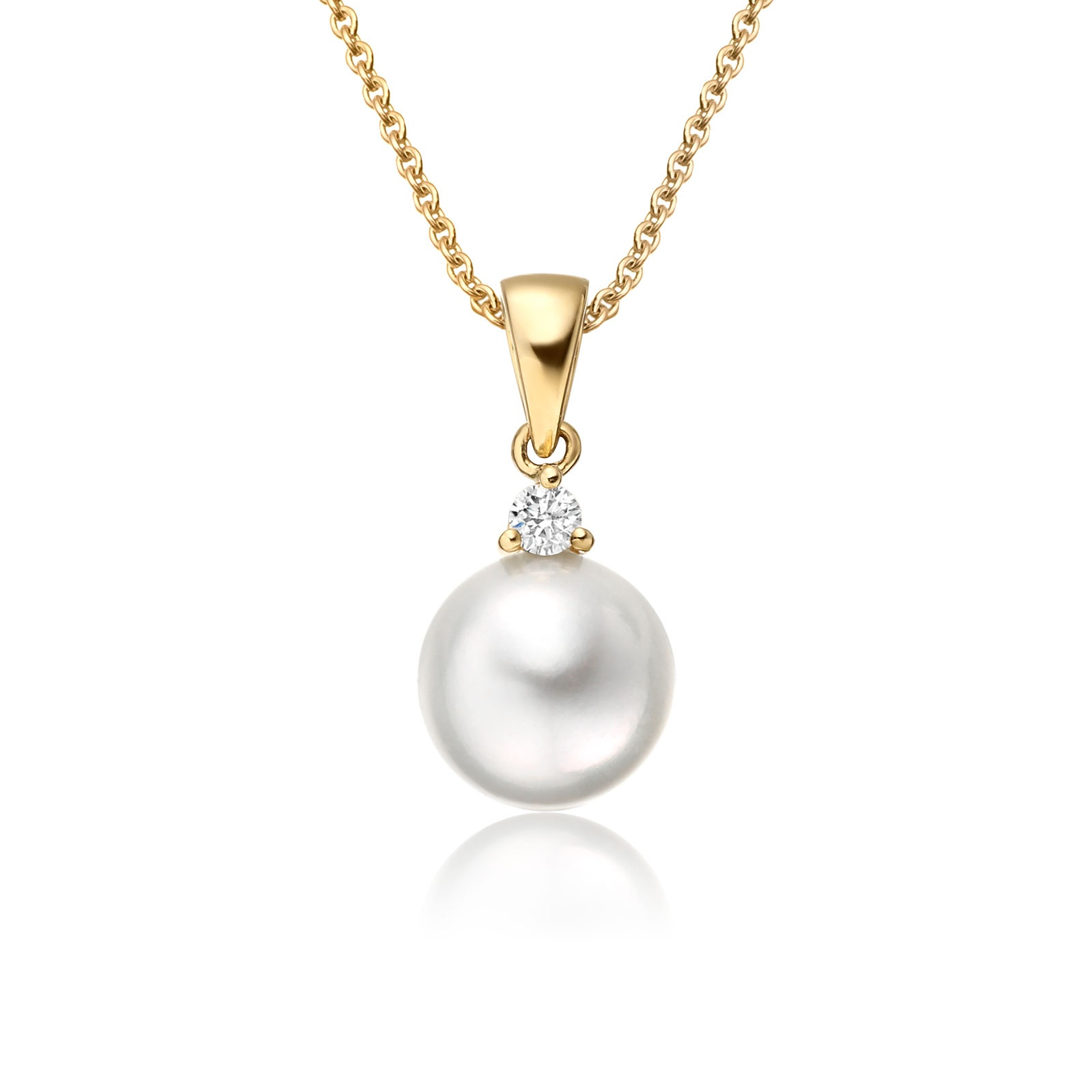 necklace gold white pin in diamond tahitian pearl and cultured