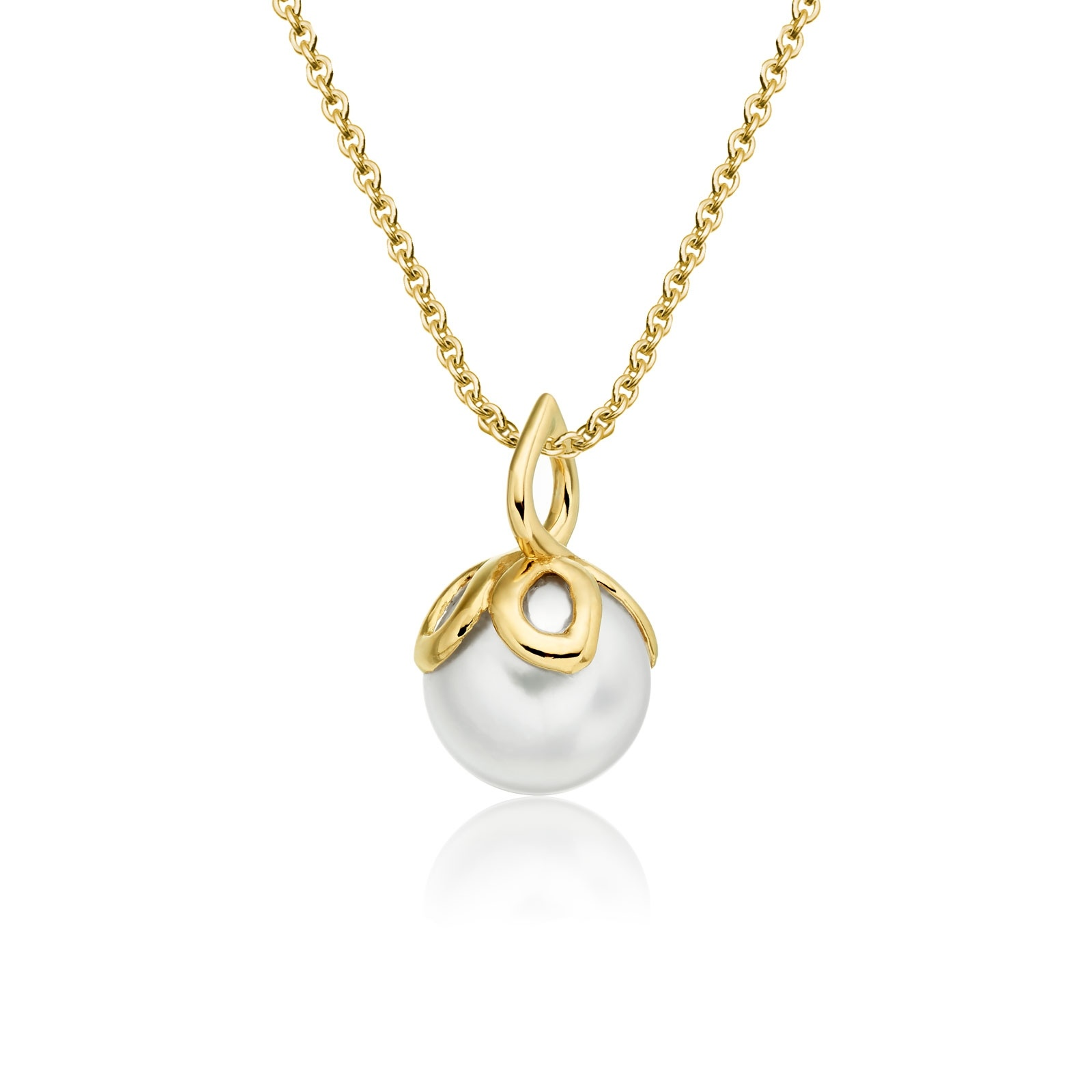Entwined Pearl Pendant with Yellow Gold Chain-APWRYG0798-1