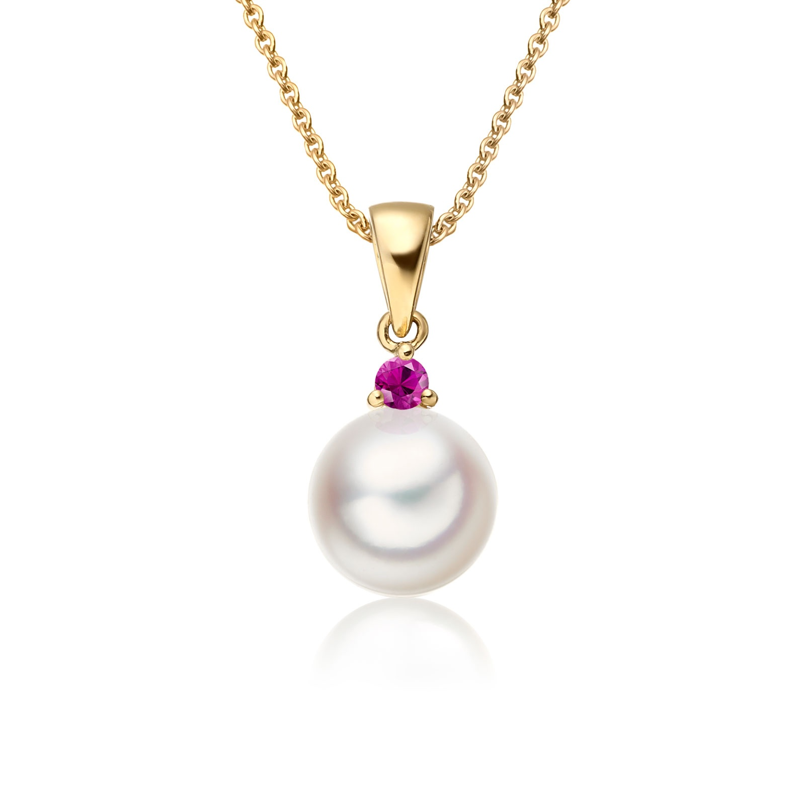 Akoya Pearl and Ruby Pendant in Yellow Gold-1