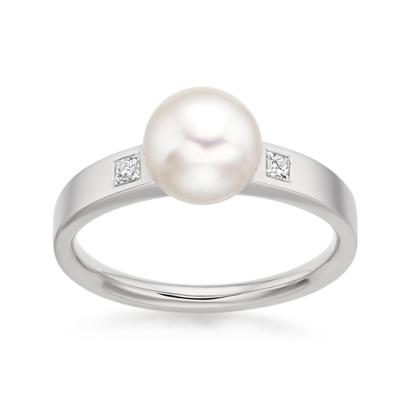Classic Akoya Pearl and Diamond Ring in White Gold