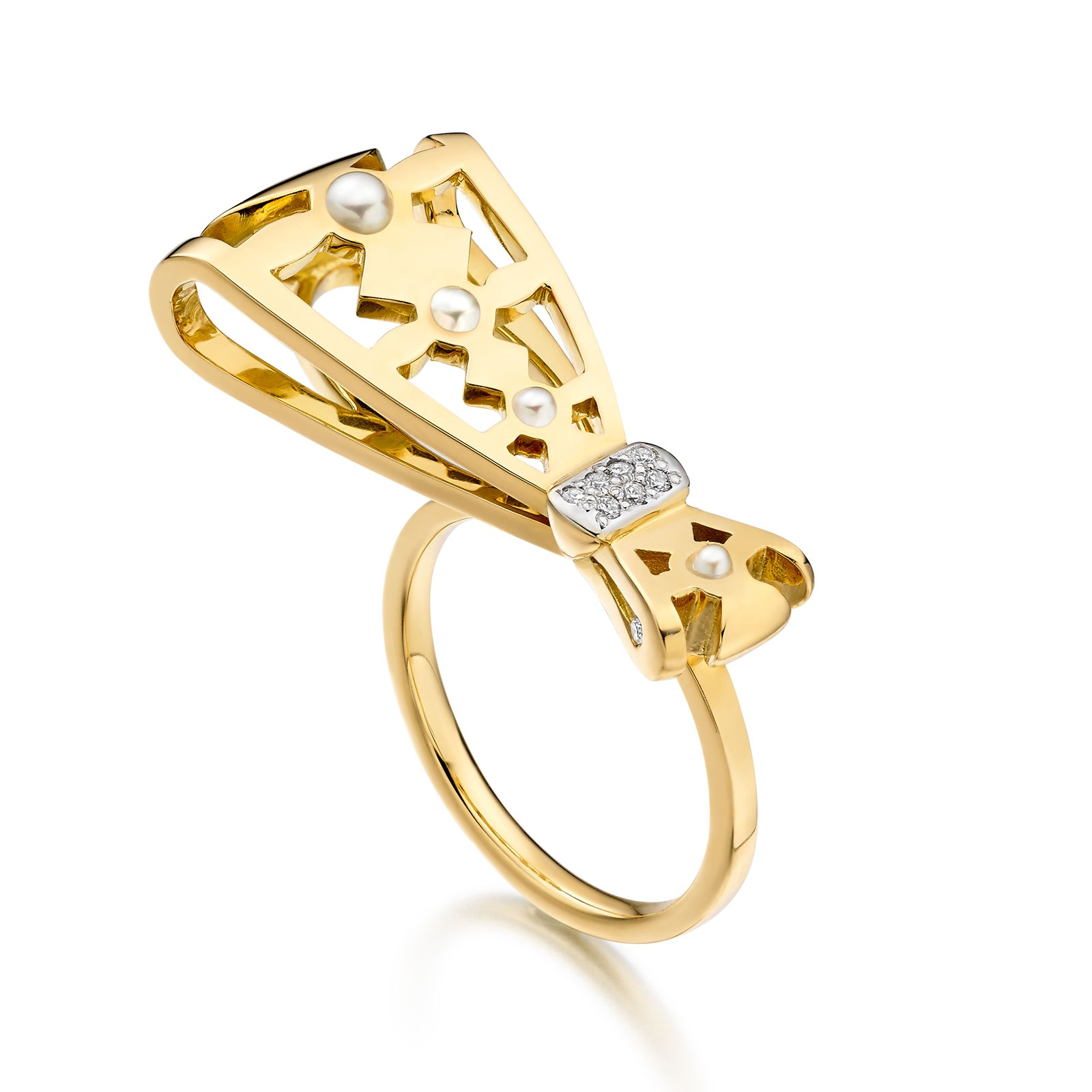 Beau Seed Pearl and Diamond Ring in Yellow Gold