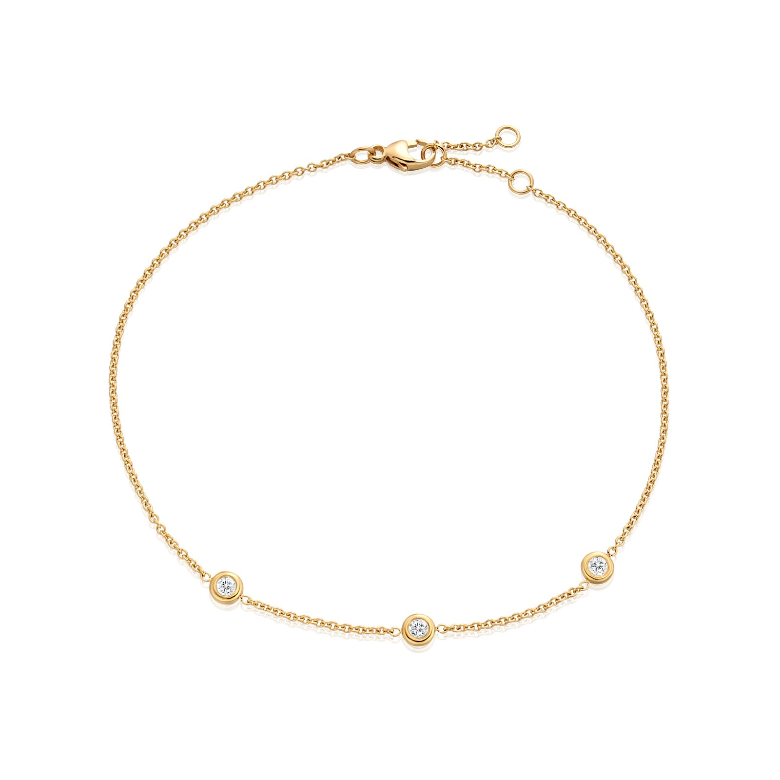 Classic 0.12ct Diamond Bracelet with Yellow Gold-1