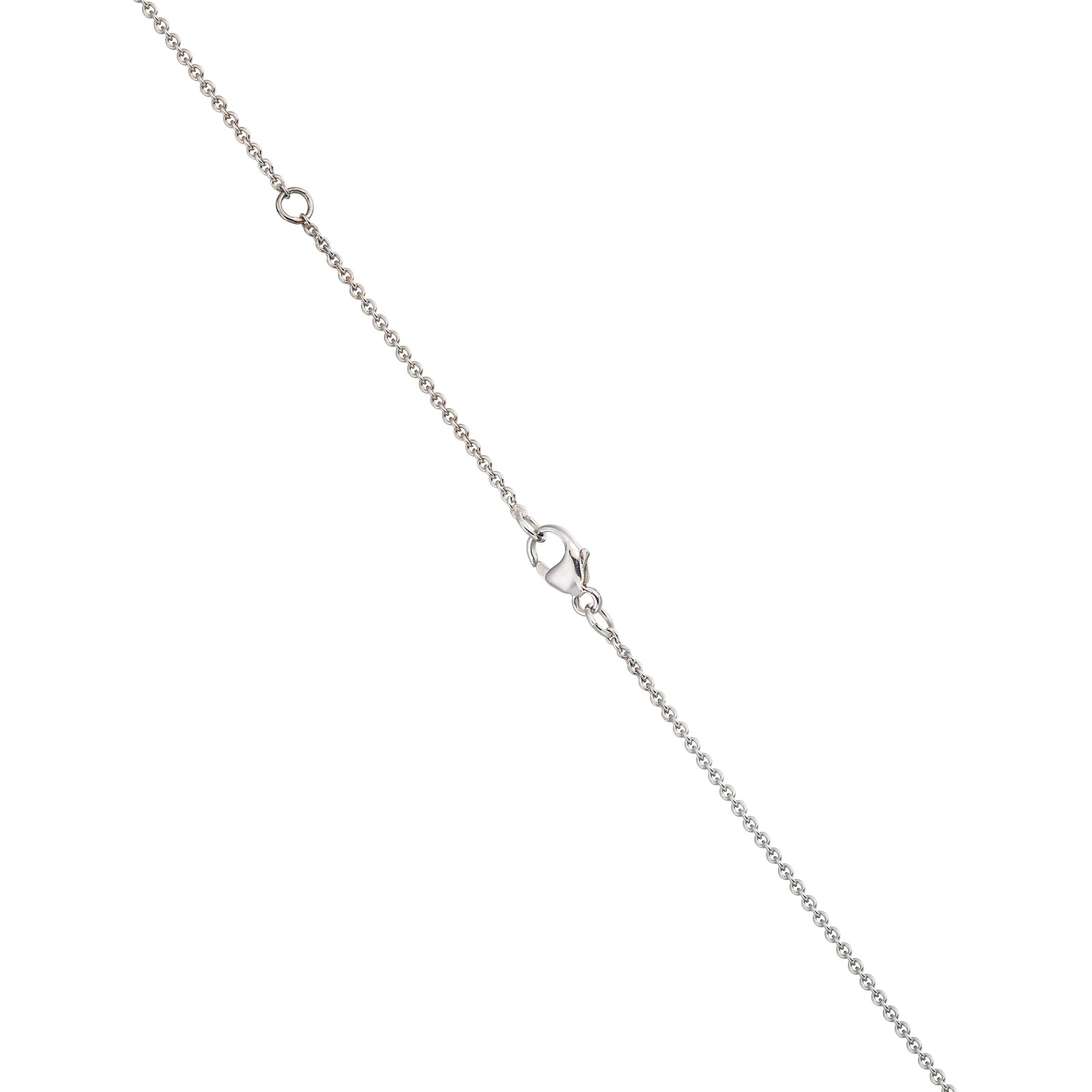 Zigzag Diamond and Akoya Pearl Pendant in White Gold-1