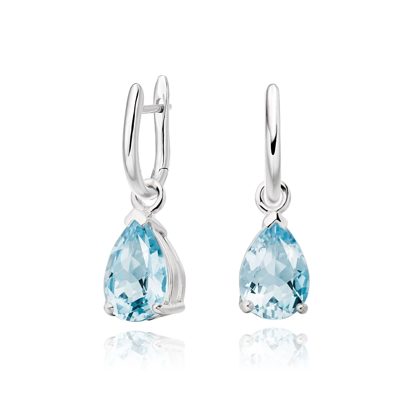 White Gold Huggie Earrings with Mythologie Aquamarine Drops--EAAQWG1245-1