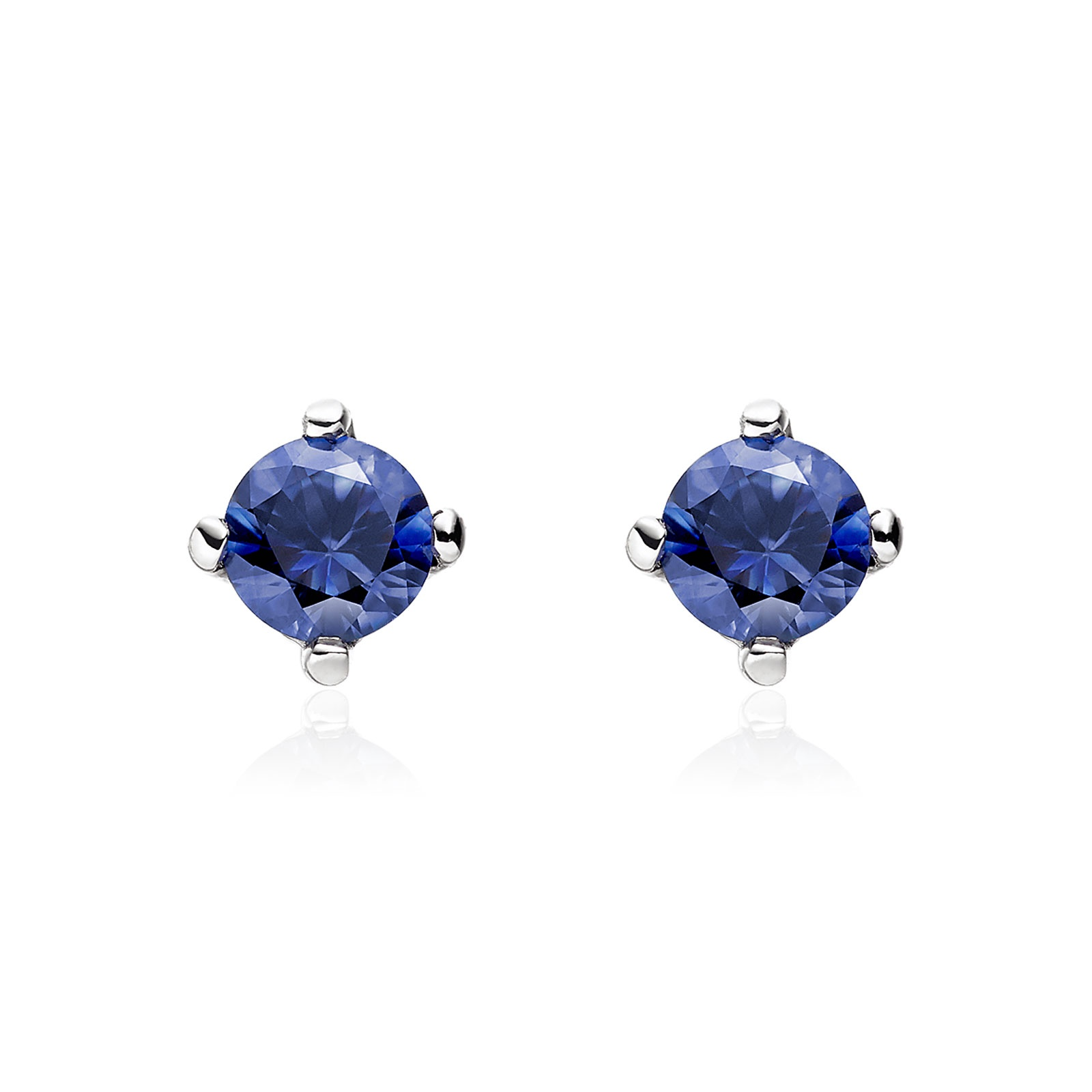 dark earring blue gift box color round cz topaz stones sapphire for jewelry light christmas silver item women free stud
