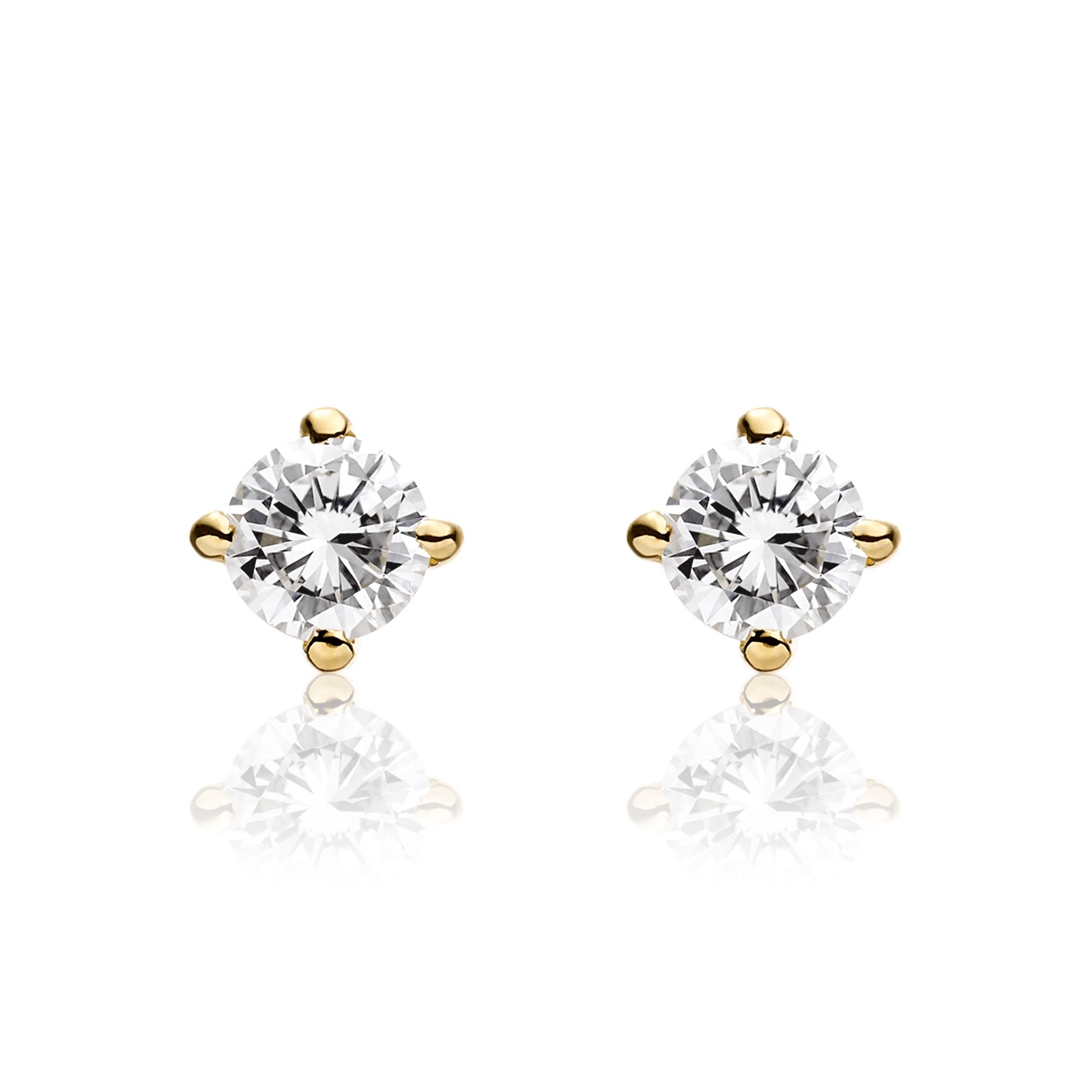 Diamond Studs in Yellow Gold with Black Tahitian Pearls-TEGRYG0492-1
