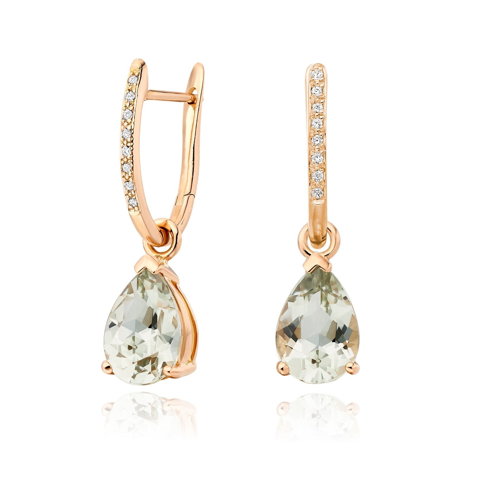Classic Leverbacks with Mythologie Green Amethyst Drops in Rose Gold-EAGARG1114-1