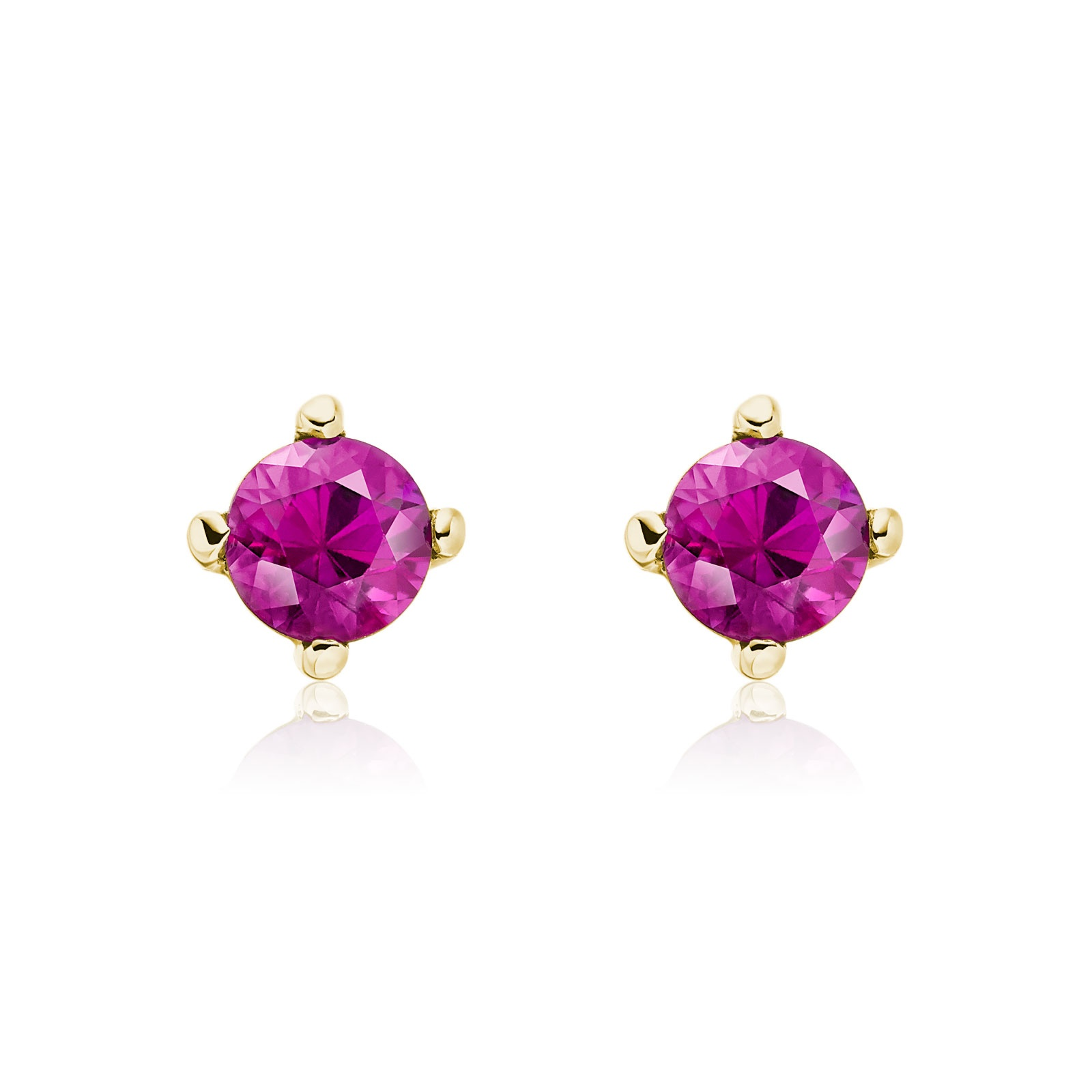 Pink Ruby Stud Earrings in 18 Carat Yellow Gold-1