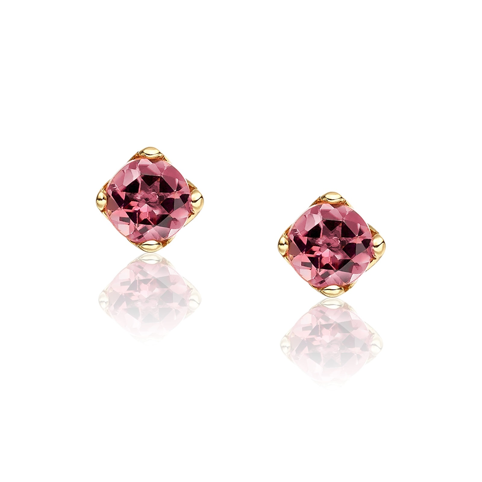 Lief Pink Tourmaline Studs in Yellow Gold-EAPTYG0427-1