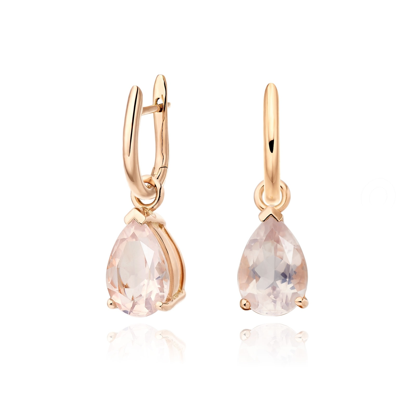 Rose Gold Huggie Earrings with Mythologie Rose Quartz Drops-EARQRG1248-1