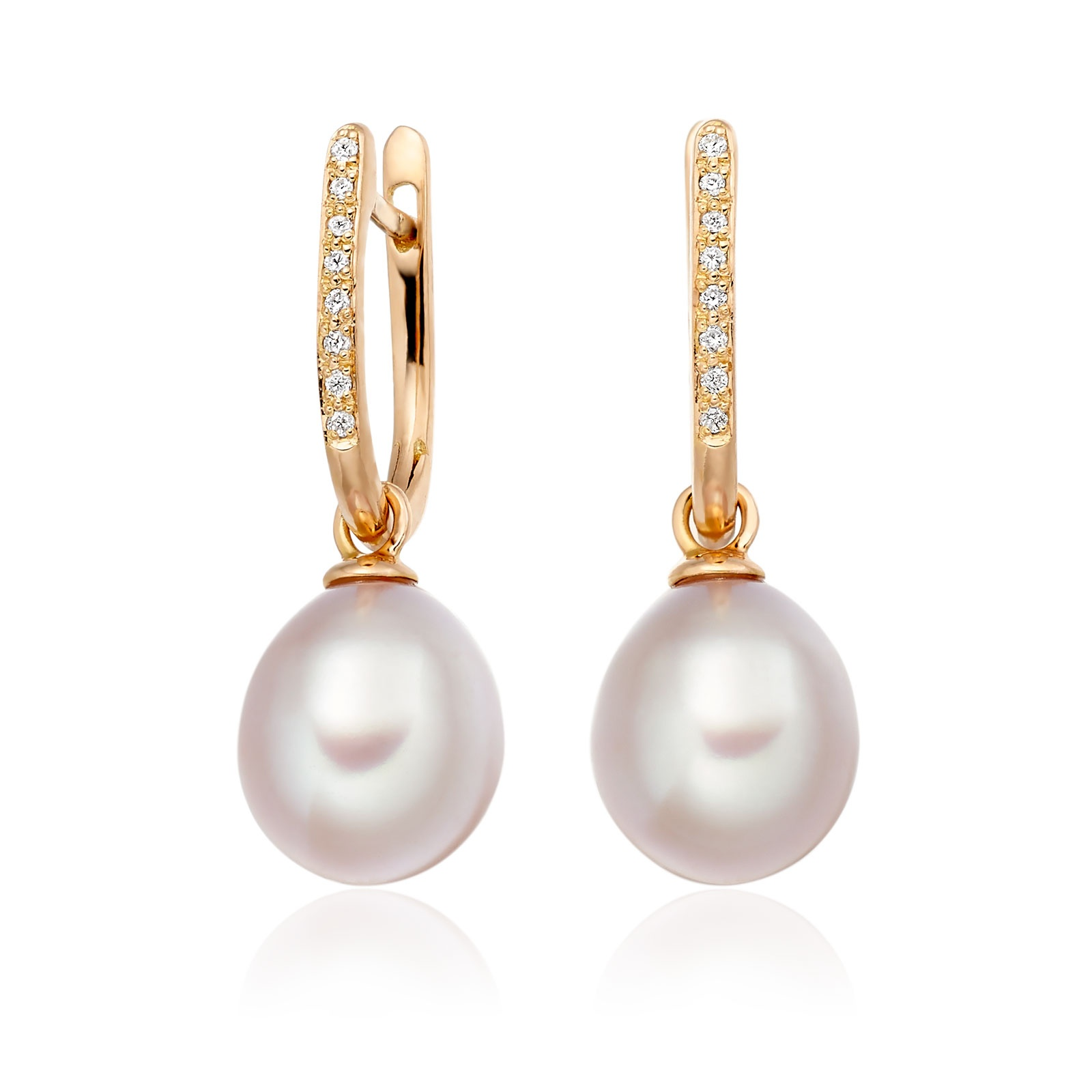 Rose Gold Diamond Leverback And Pink Freshwater Pearl Earrings-1