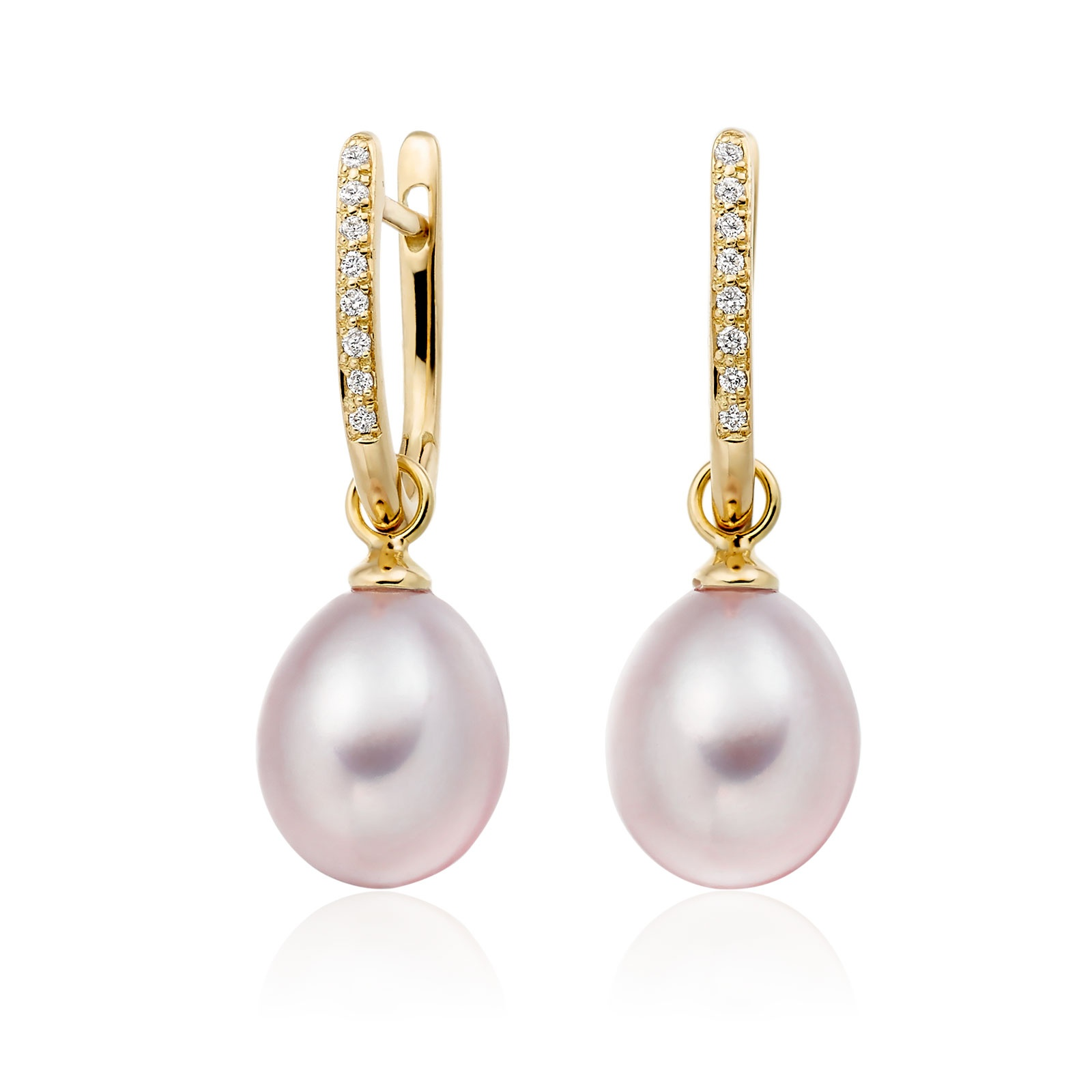 Yellow Gold Diamond Leverback And Pink Freshwater Pearl Earrings-1