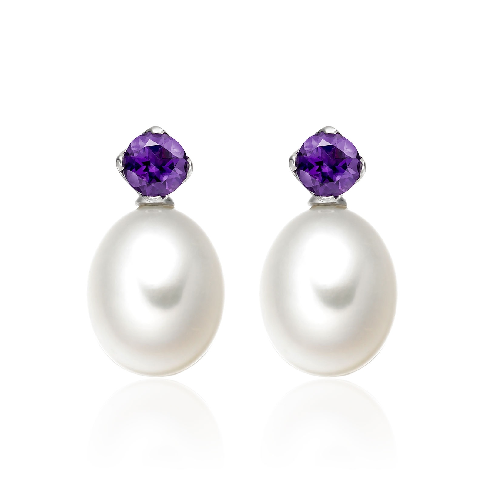 Lief Amethyst Earrings in White Gold with Freshwater Pearls-FEWDAM0467-1
