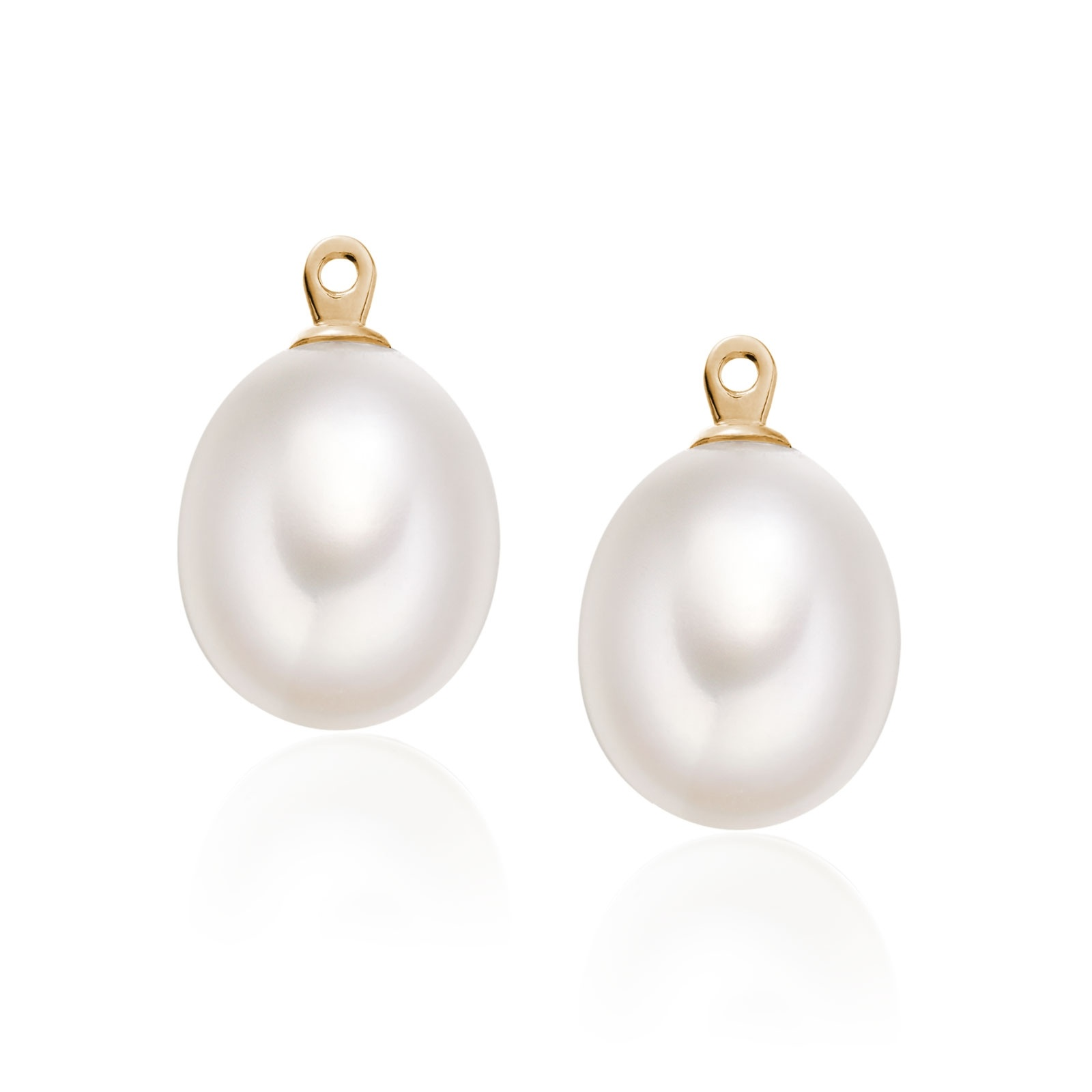 White Freshwater Drop Pearls for Rose Gold Stud Earrings-FEWDRG1314-1