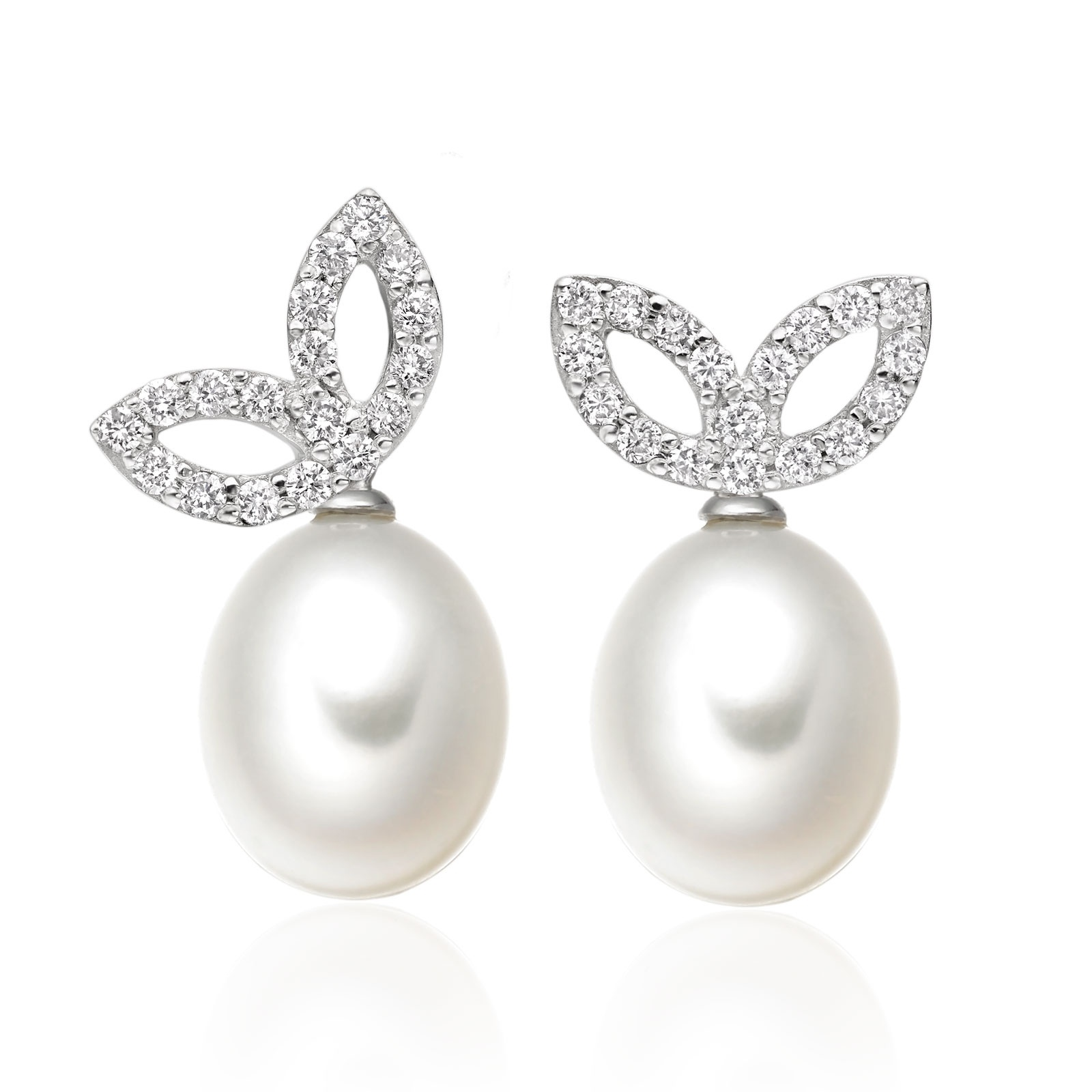 Enchanted Diamond Studs in White Gold with Freshwater Pearls-FEWDWG0478-1