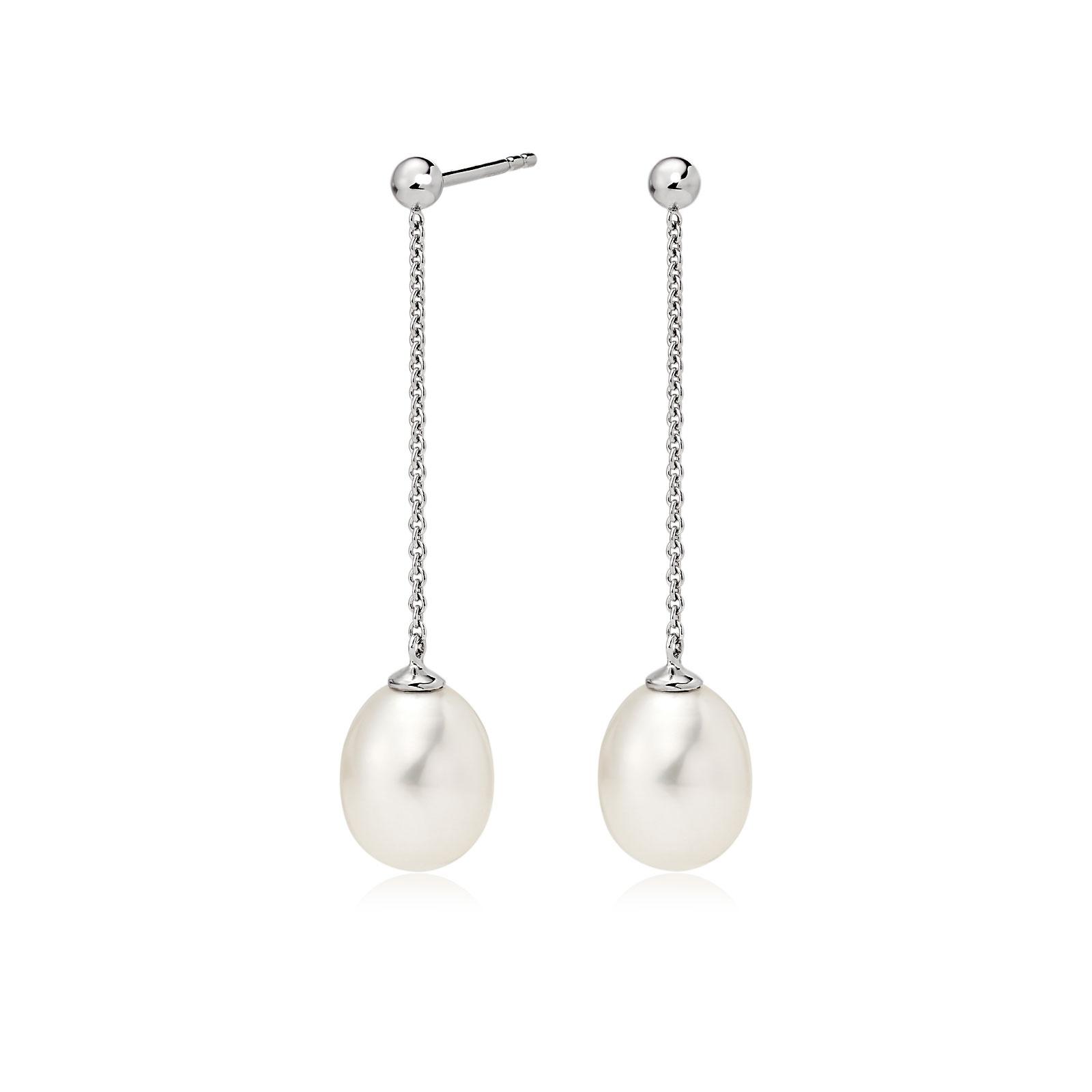 Freshwater Pearl Constellation Earrings in White Gold-FEWDWG1223-1