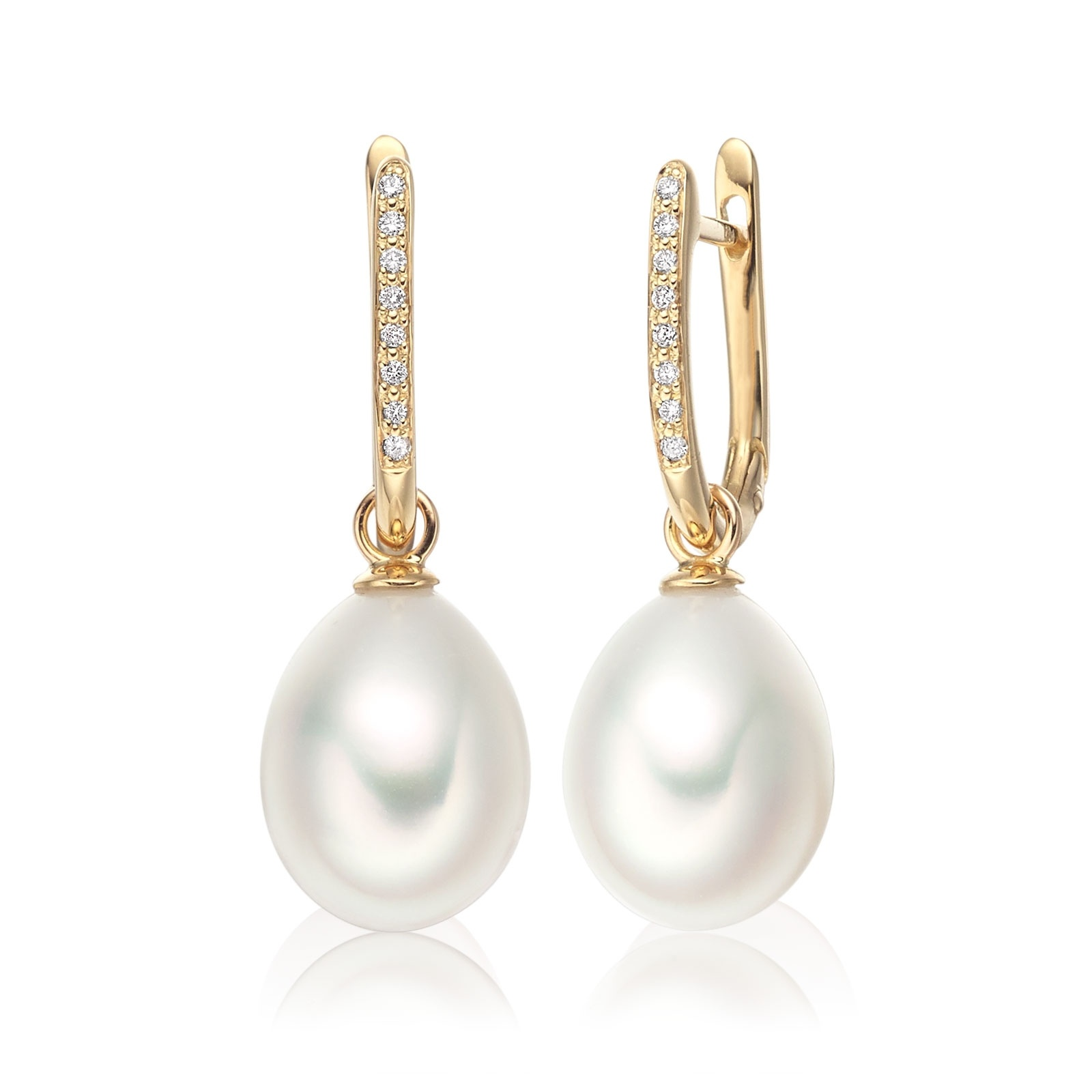 Yellow Gold Diamond Leverbacks with White Freshwater Pearls-FEWDYG0273-1