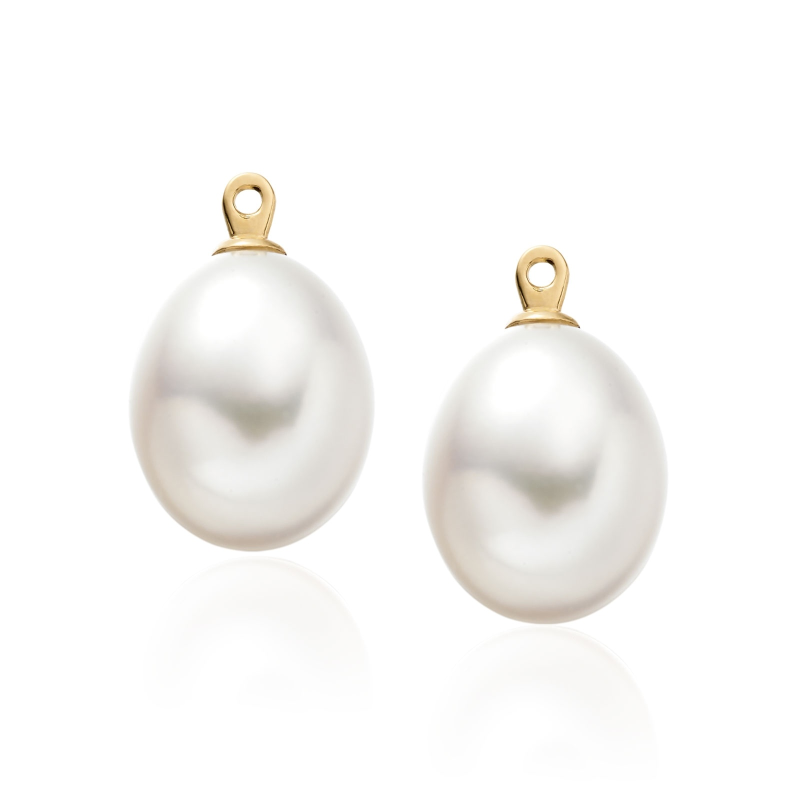 Enchanted Diamond Studs in Yellow Gold with Freshwater Pearls-FEWDYG0479-1