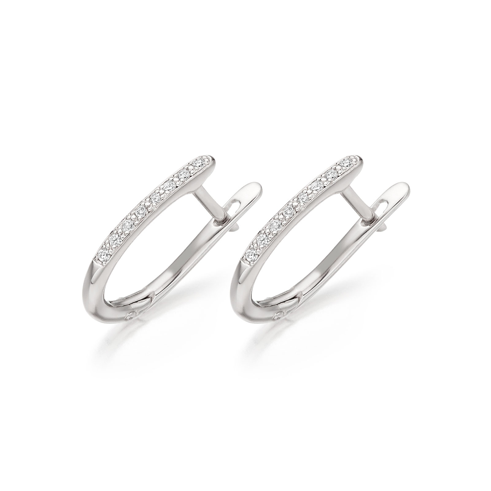 18 carat White Gold Diamond Leverback Earrings-1