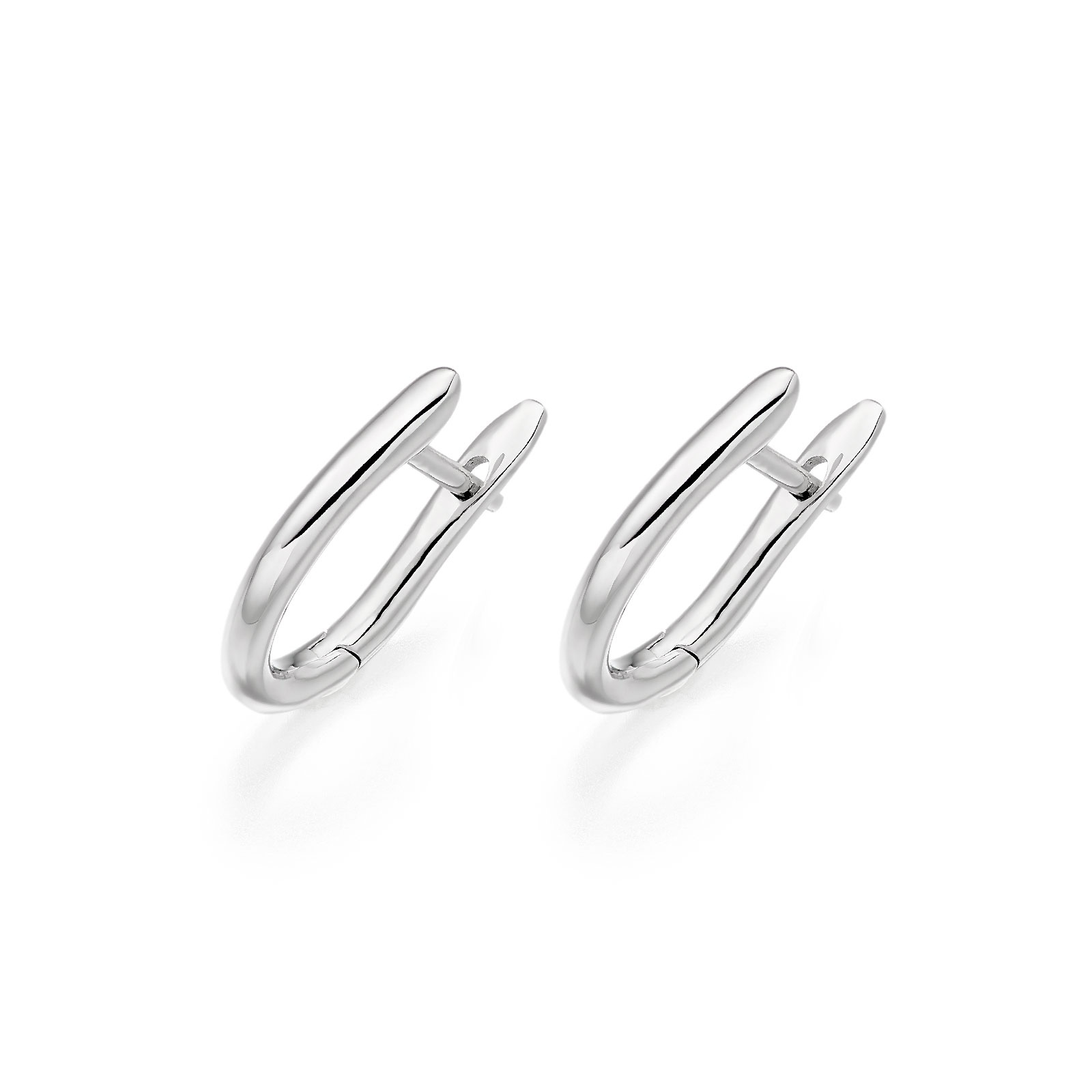 White Gold Huggie Leverback Earrings-FILEWG1141-1