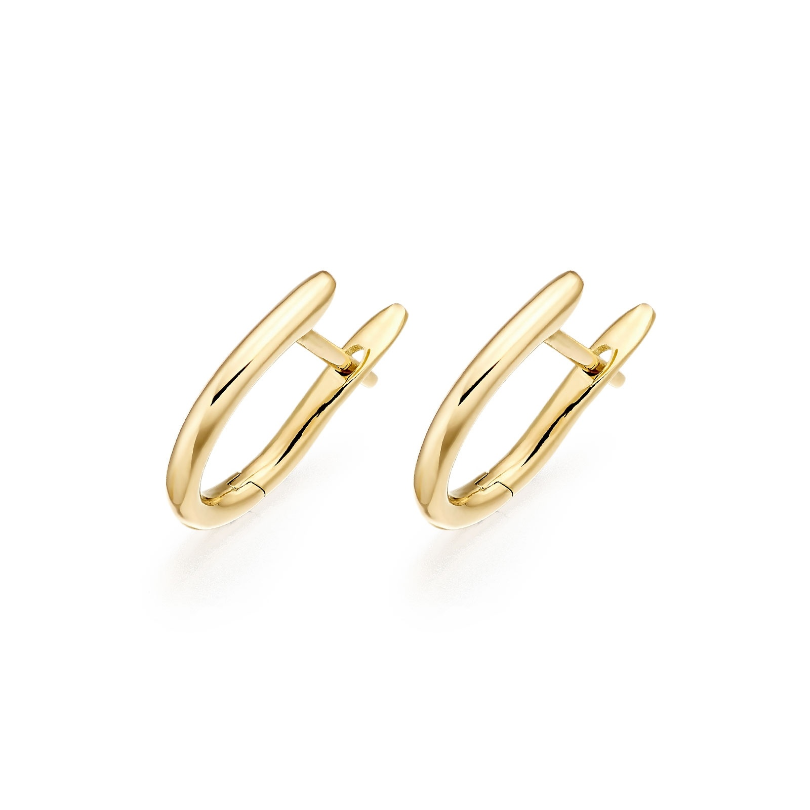 Yellow Gold Huggie Earrings with Akoya Pearls-AEWRYG1249-1
